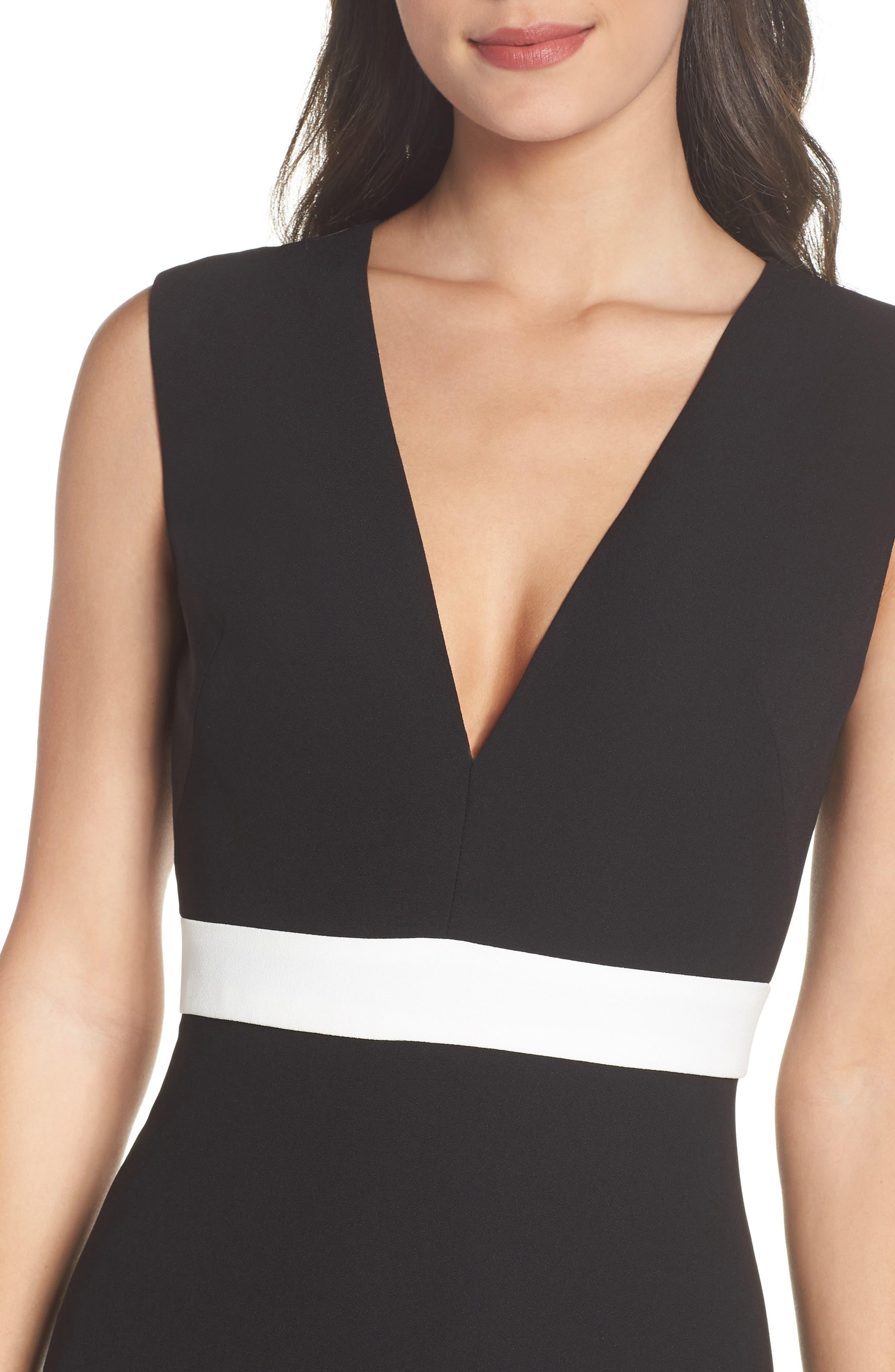ML Monique Lhullier Sleeveless Crepe Gown,                             Alternate thumbnail 4, color,                             Black/ White