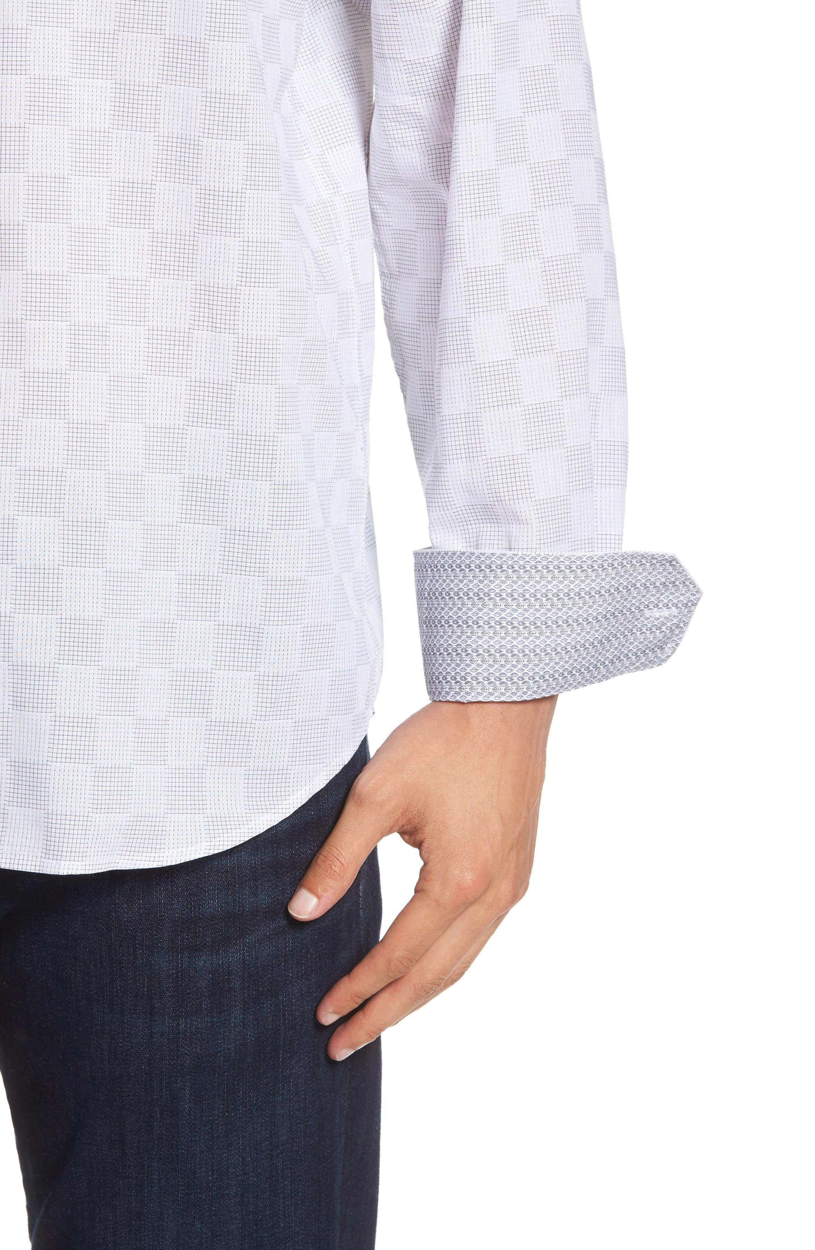 Classic Fit Checkerboard Print Sport Shirt,                             Alternate thumbnail 2, color,                             Platinum