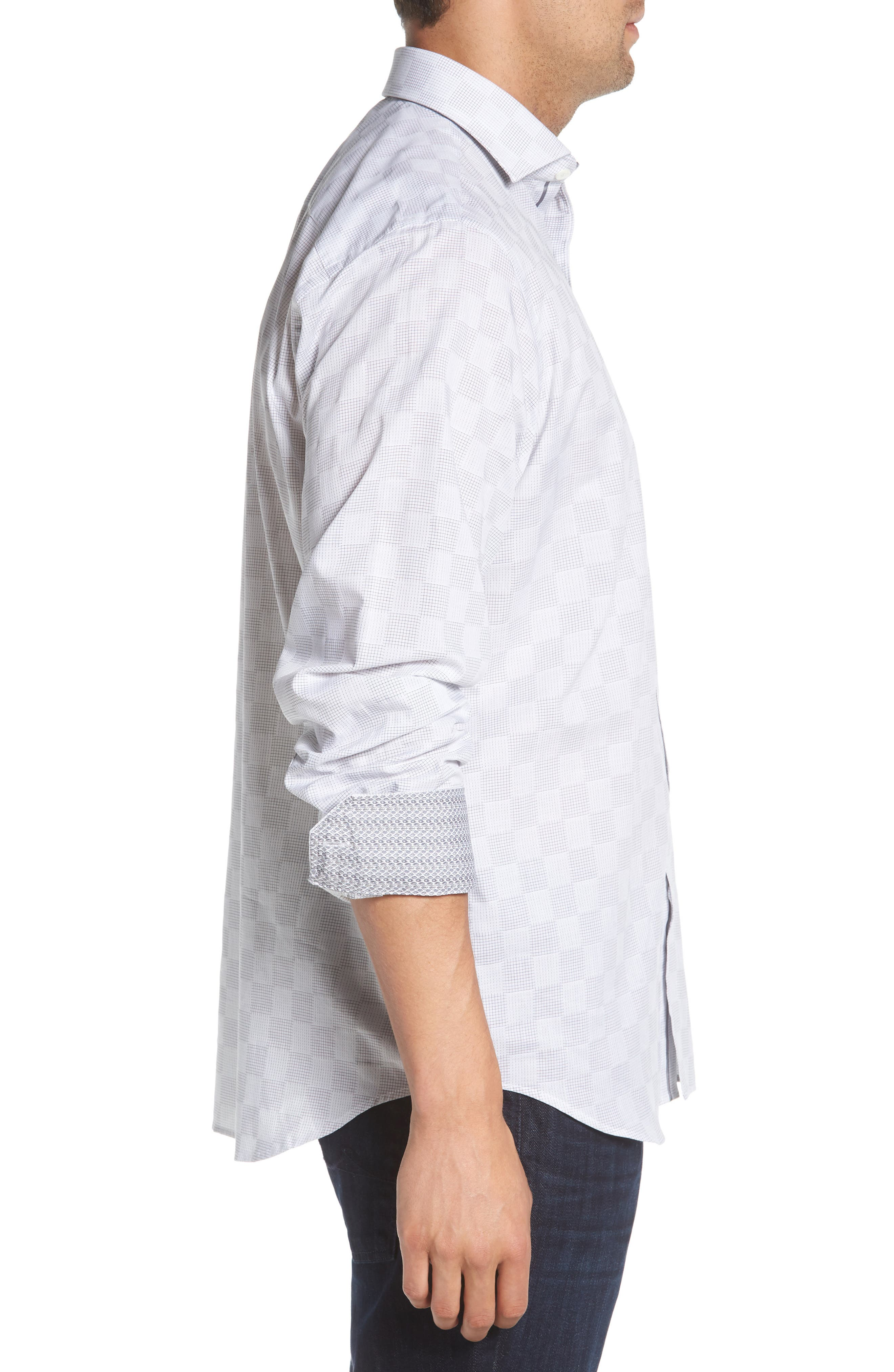 Classic Fit Checkerboard Print Sport Shirt,                             Alternate thumbnail 4, color,                             Platinum