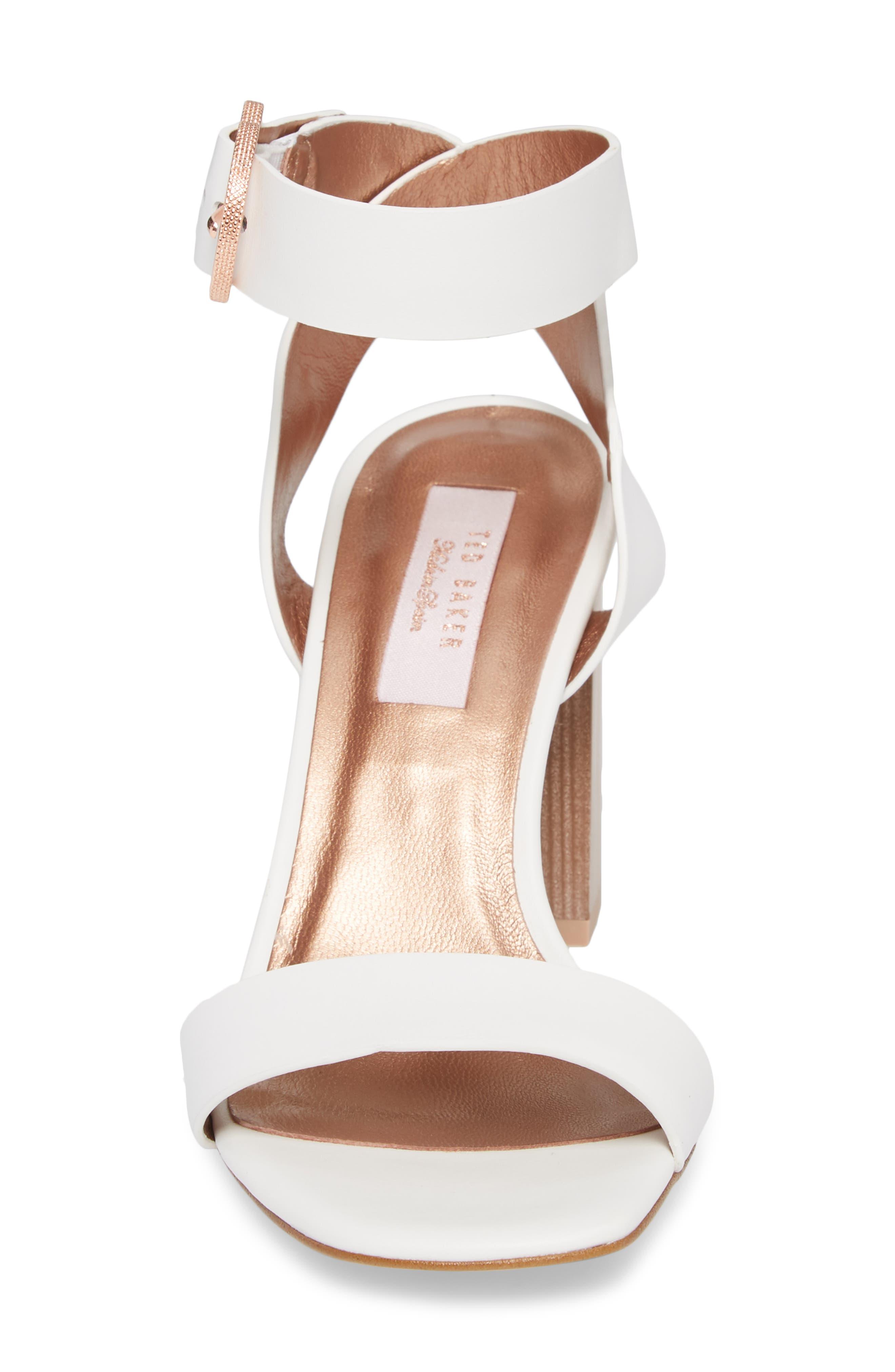 Vallama Block Heel Sandal,                             Alternate thumbnail 4, color,                             White Leather