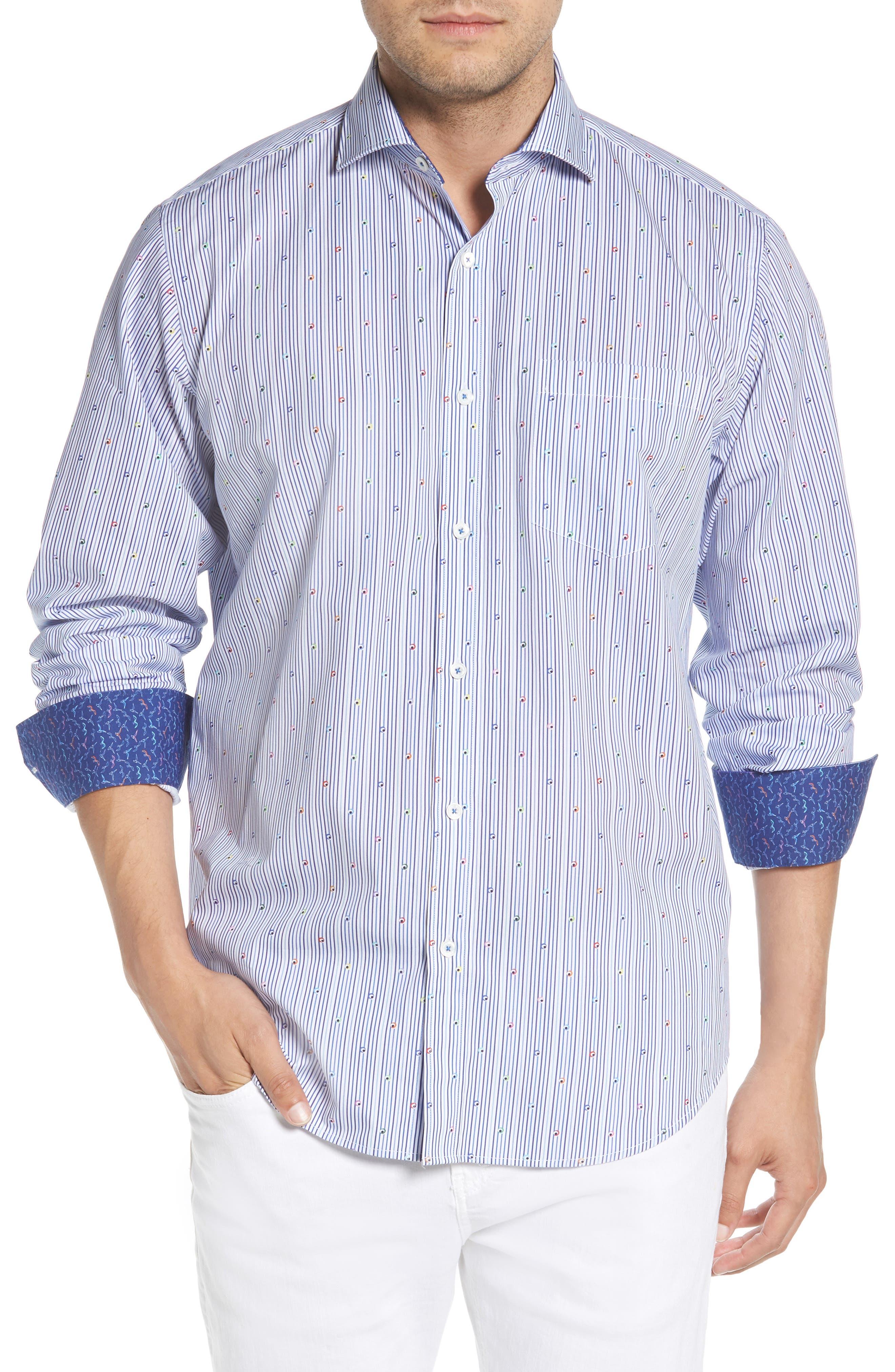 Classic Fit Stripe Sport Shirt,                         Main,                         color, Navy