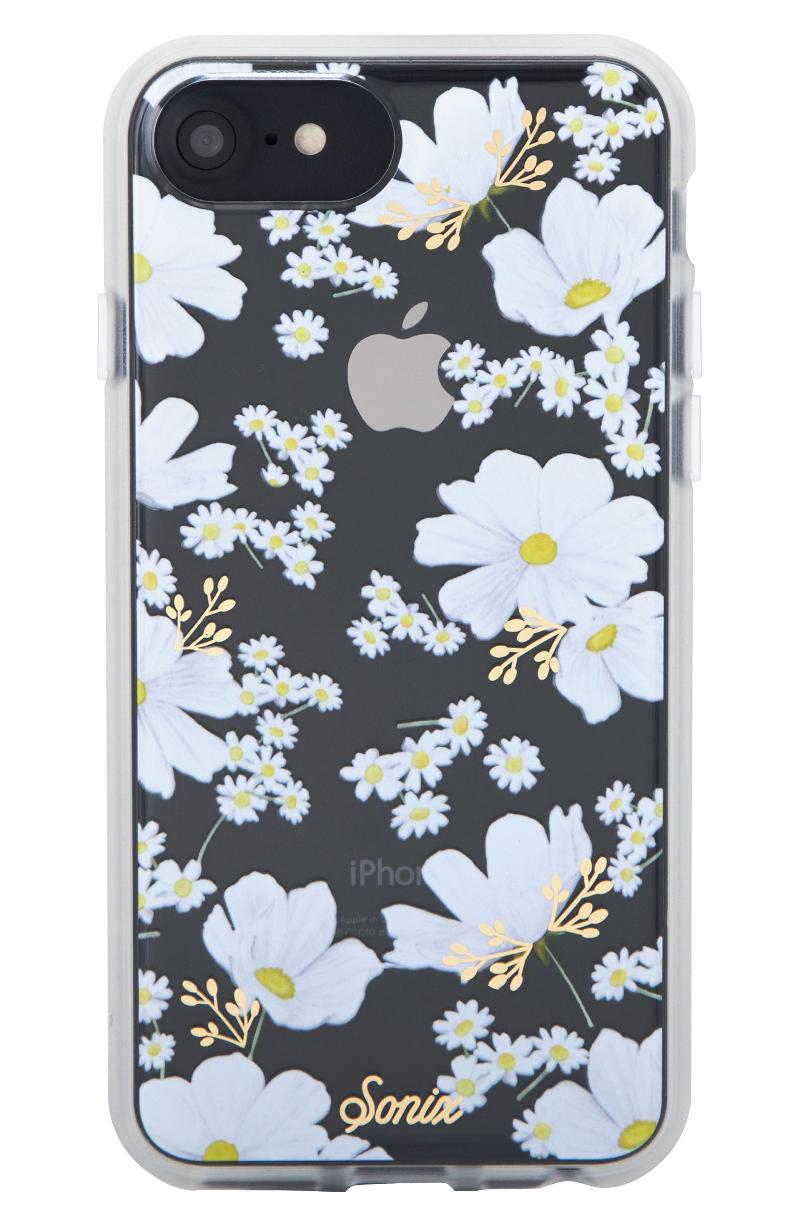 Ditsy Daisy iPhone 6 /6S/7/8 & 6/6s7/8 Plus Case,                             Main thumbnail 1, color,                             White/ Gold