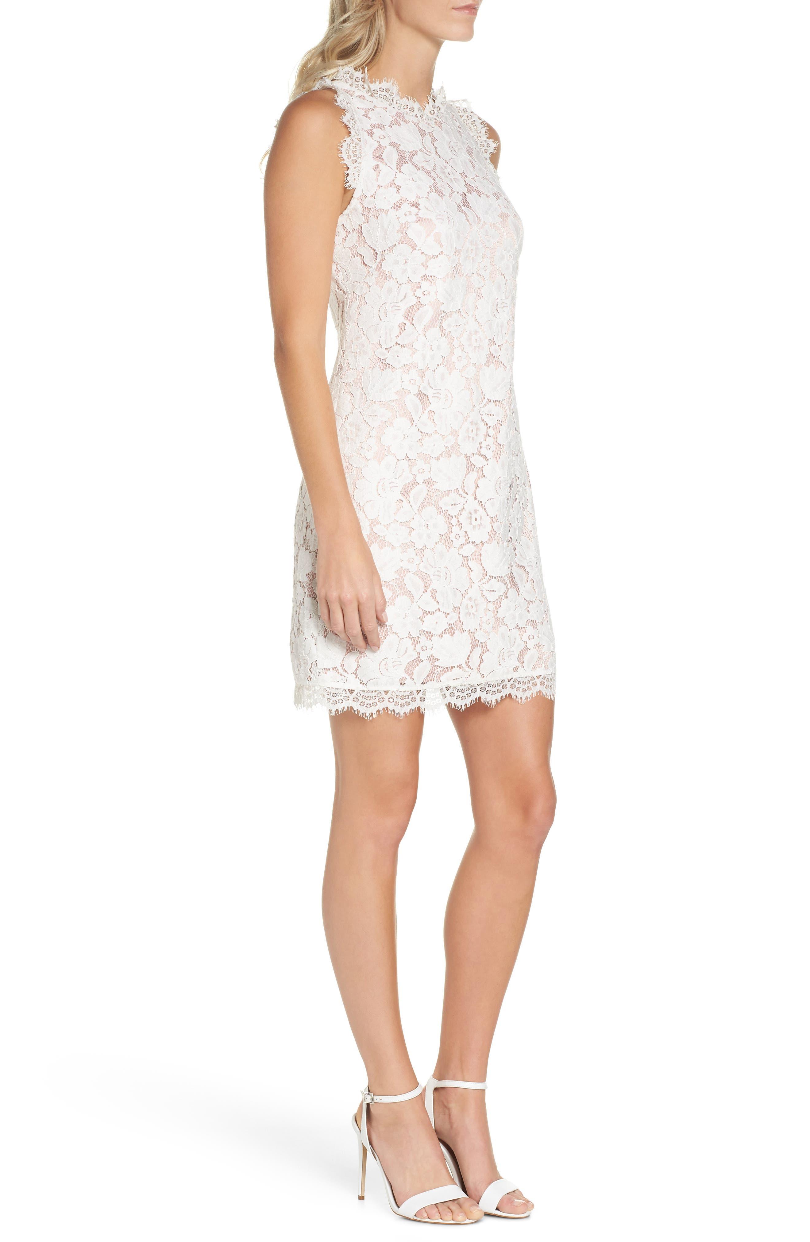Sleeveless Eyelash Lace Sheath Dress,                             Alternate thumbnail 3, color,                             Cream