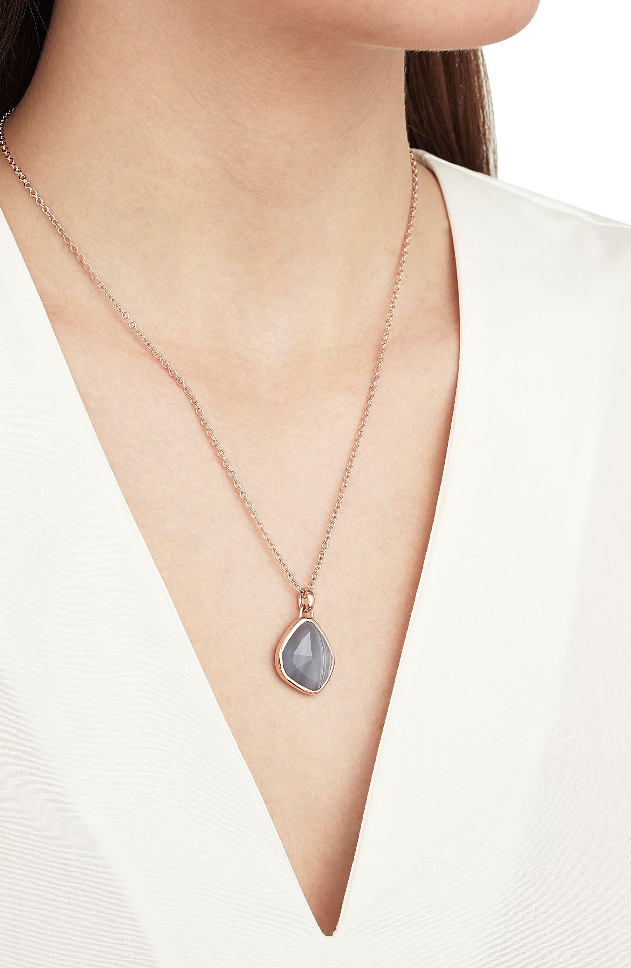 Siren Nugget Semiprecious Stone Pendant,                             Alternate thumbnail 2, color,                             Grey Agate/ Rose Gold