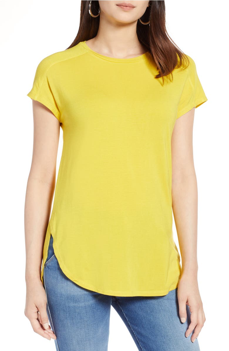Crewneck Tee,                         Main,                         color, Yellow Sulphur