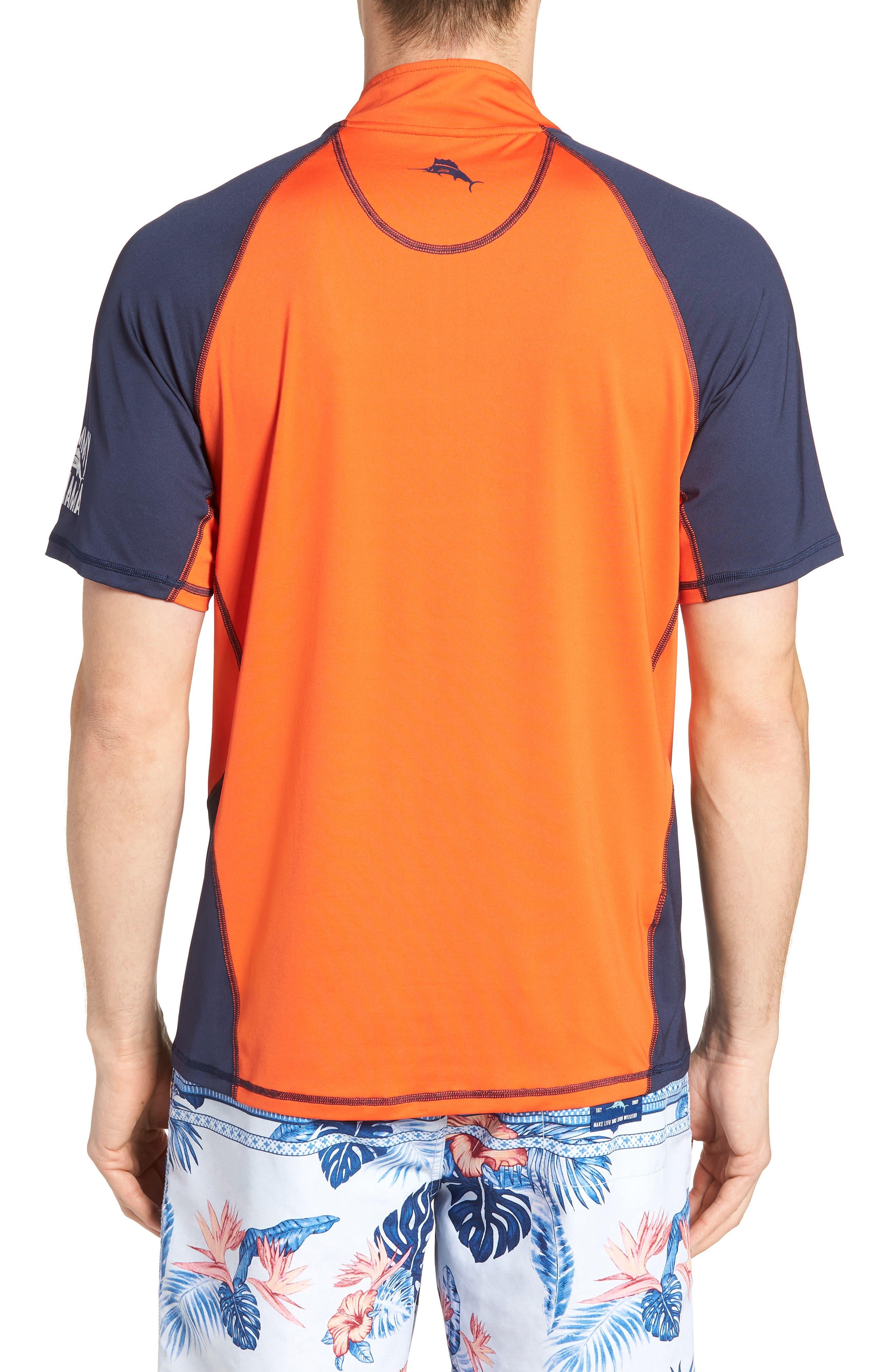 IslandActive<sup>™</sup> Colorblock Beach Pro Rashguard T-Shirt,                             Alternate thumbnail 2, color,                             Fire Orange