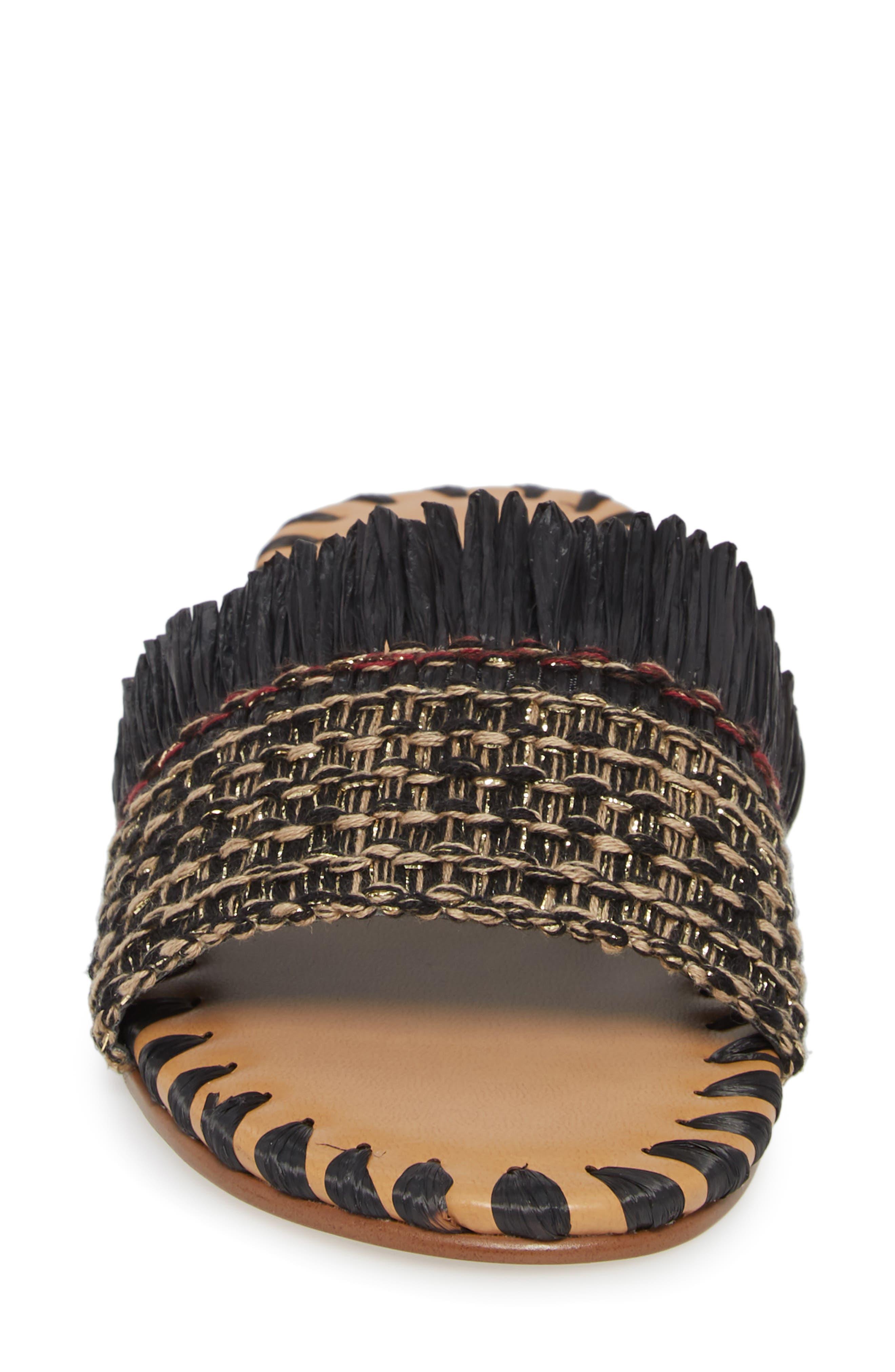 Bailee Slide Sandal,                             Alternate thumbnail 4, color,                             Black Fabric