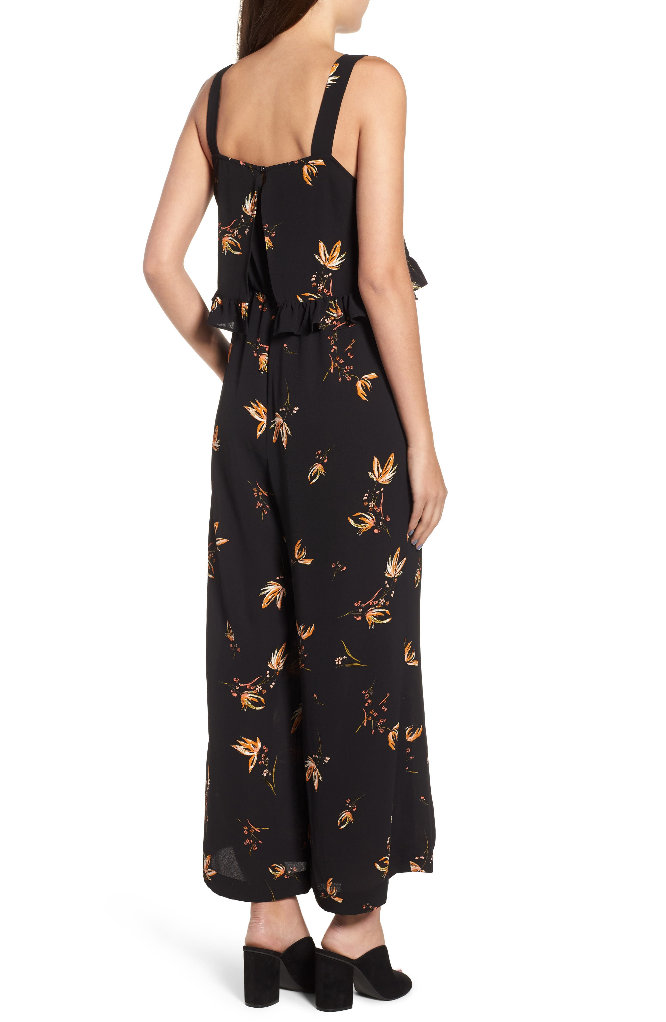 Ruffled Floral Print Jumpsuit,                             Alternate thumbnail 2, color,                             Black Camilla Spaced Floral