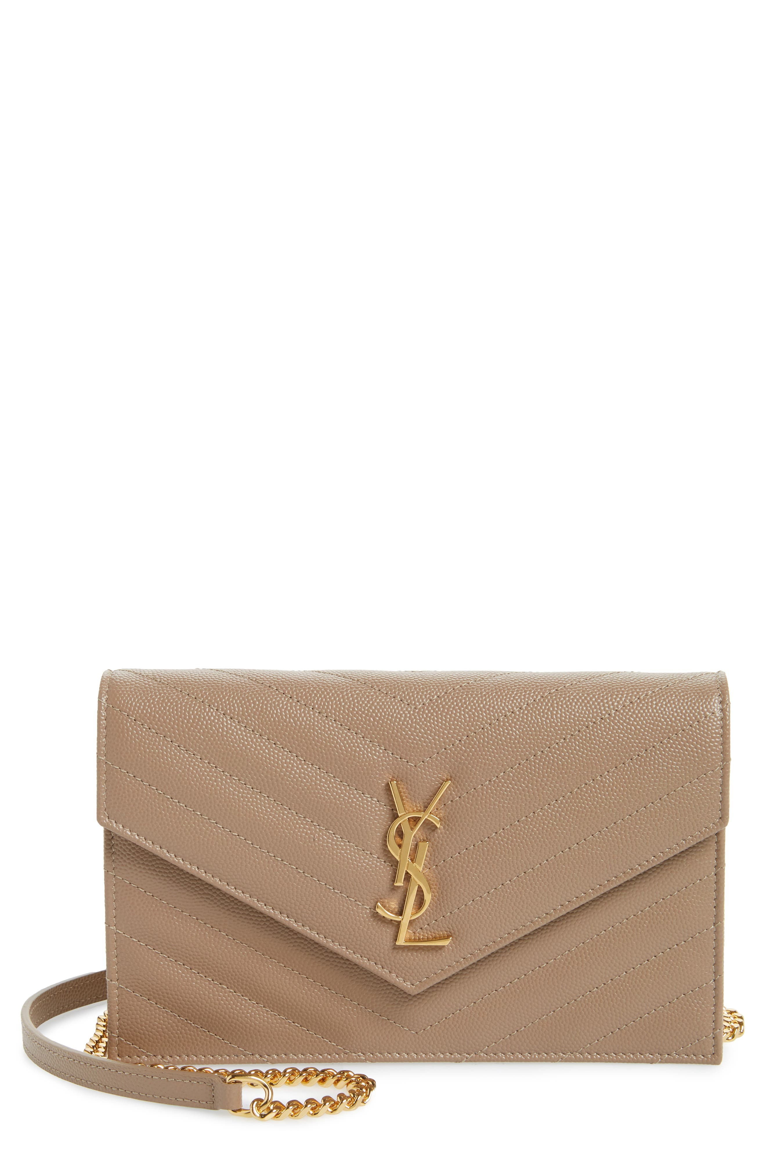 Saint Laurent 'Small Mono' Leather Wallet on a Chain