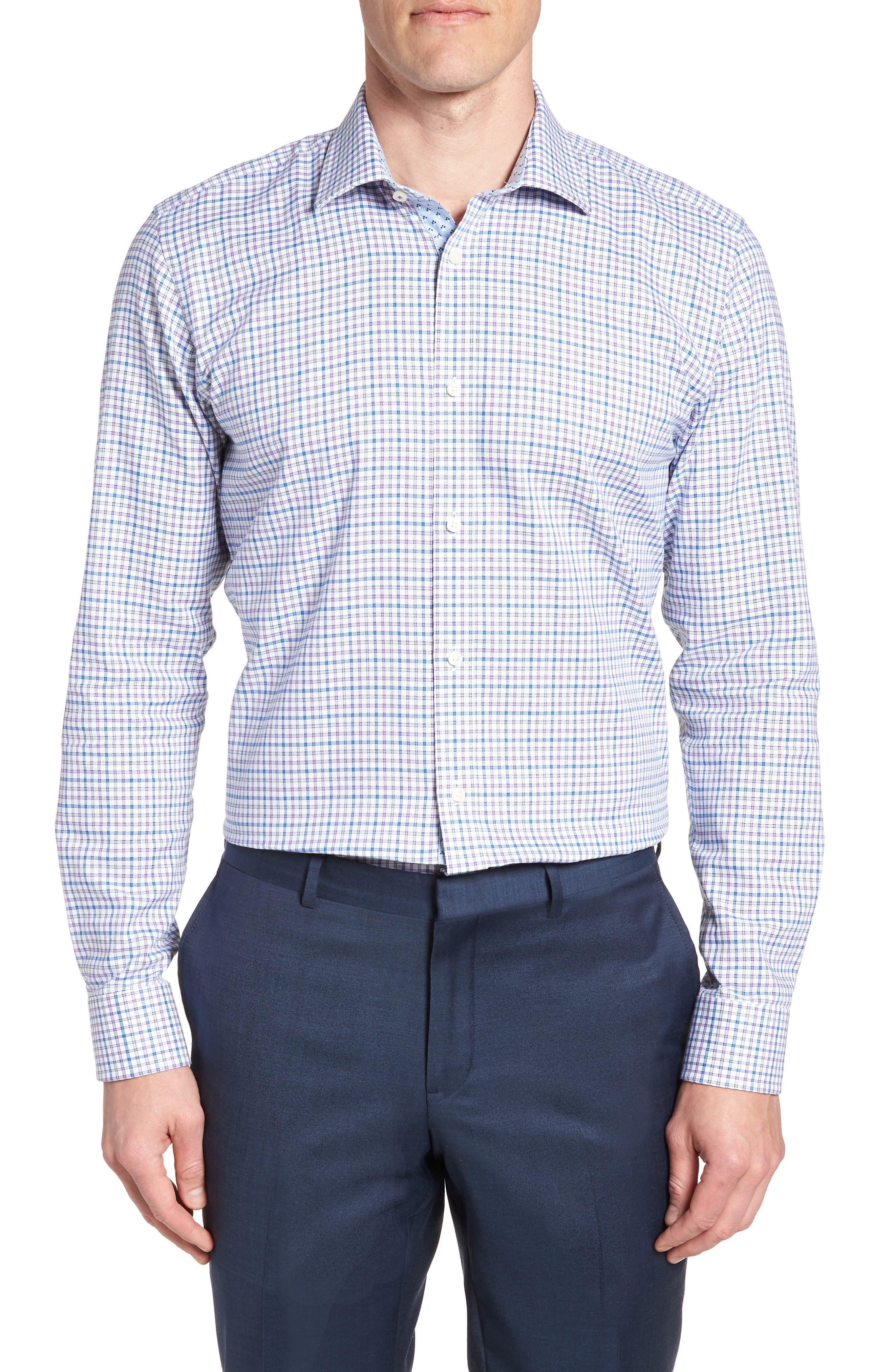 Welsh Trim Fit Check Dress Shirt,                         Main,                         color, Purple