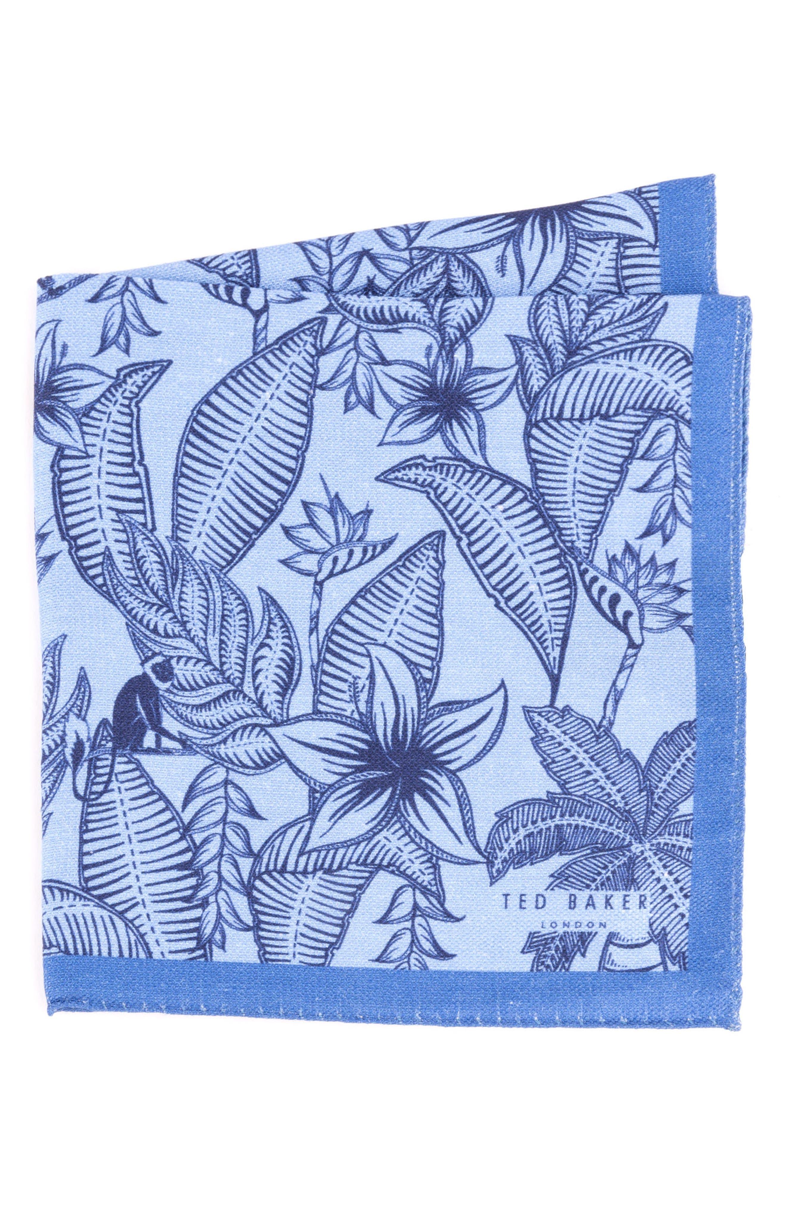 Monkey Botanical Silk Pocket Square,                         Main,                         color, Light Blue