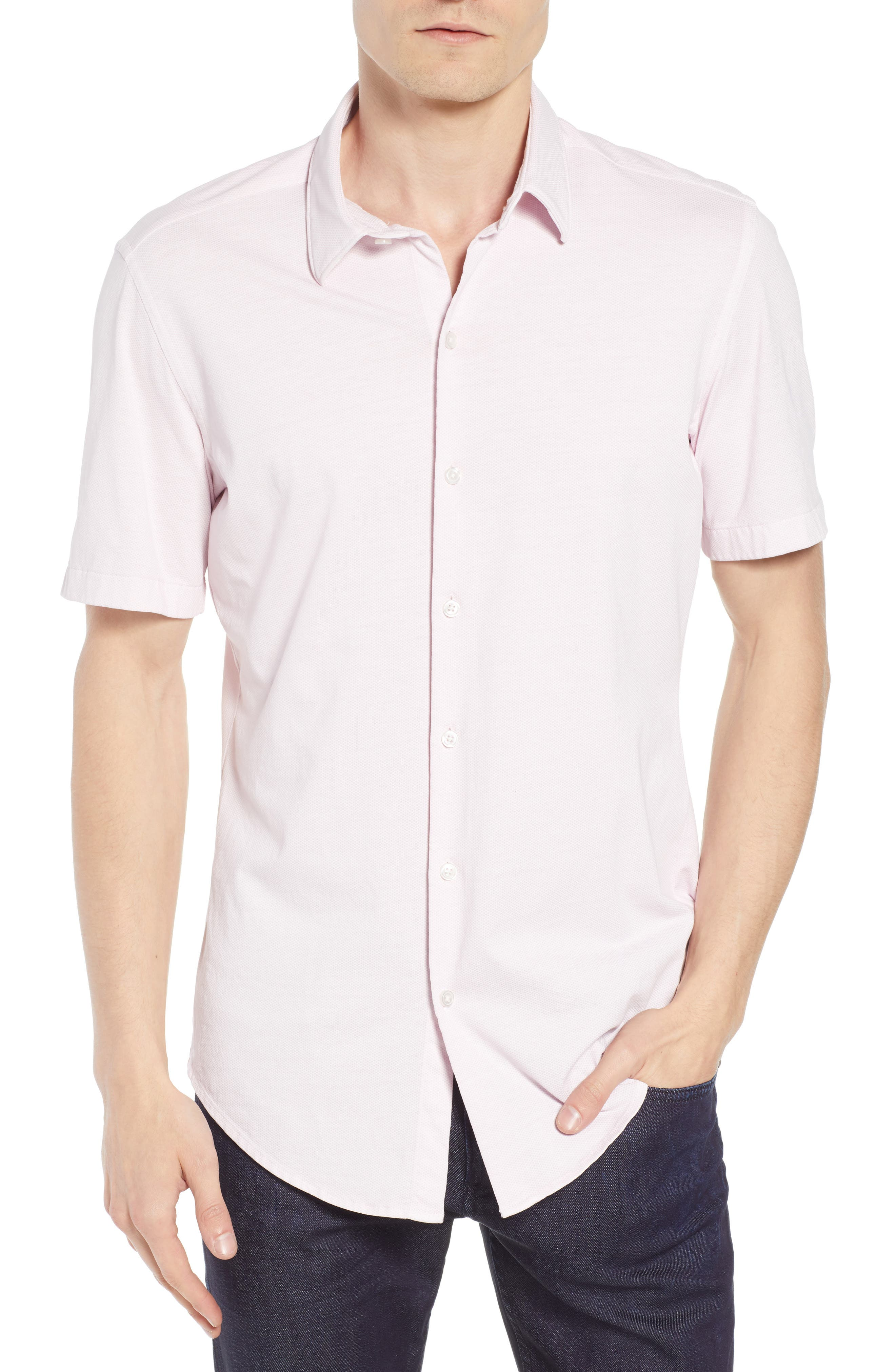 Robb Trim Fit Jersey Sport Shirt,                         Main,                         color, Pink