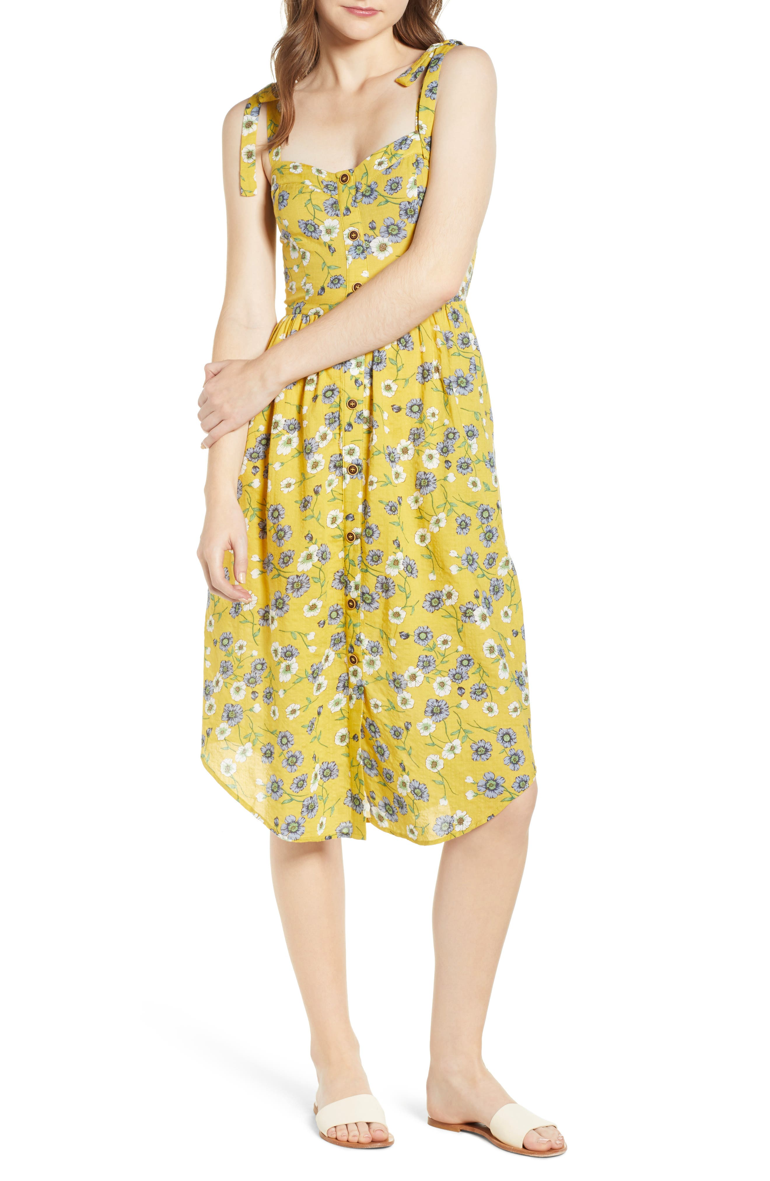 Floral Button Front Sundress,                             Main thumbnail 1, color,                             Yellow Floral