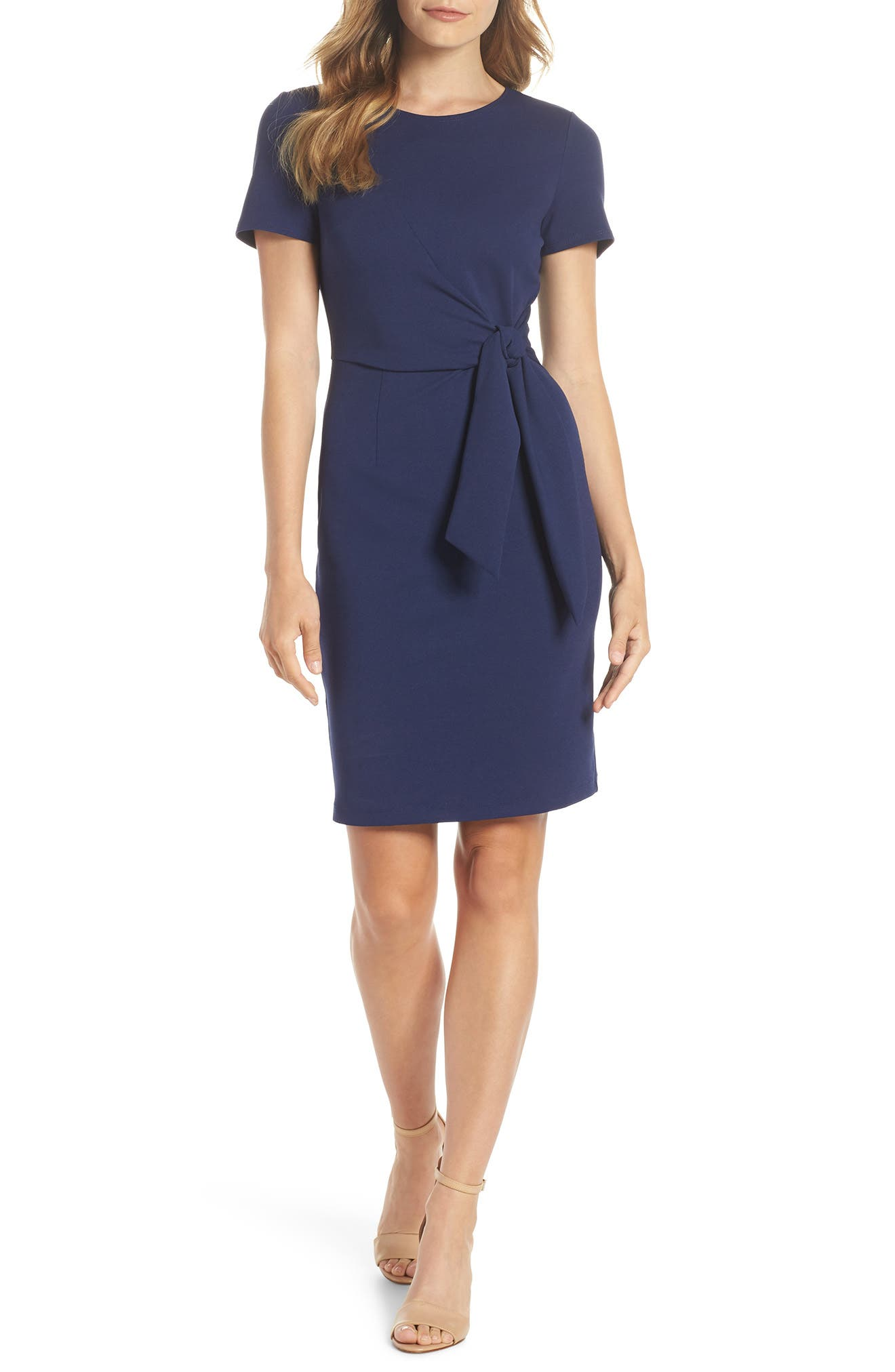 Tie Front Sheath Dress,                         Main,                         color, Navy