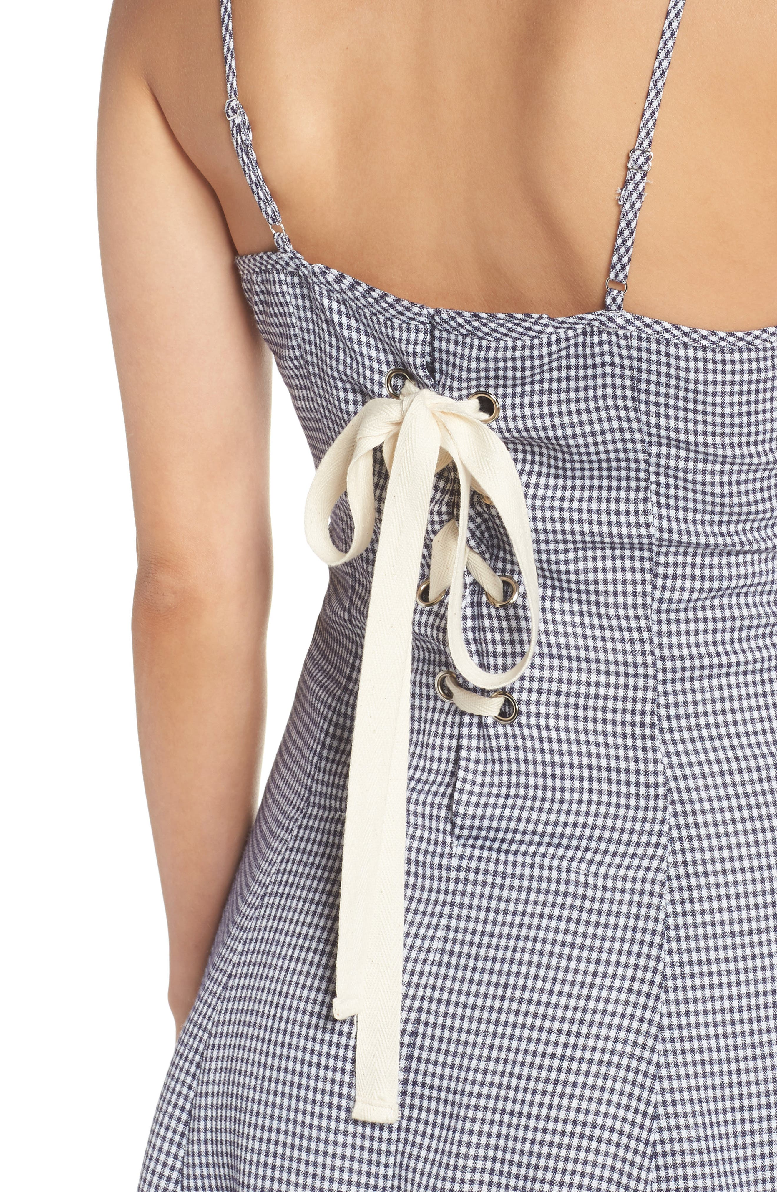 Back Lace-Up Fit & Flare Dress,                             Alternate thumbnail 4, color,                             Navy
