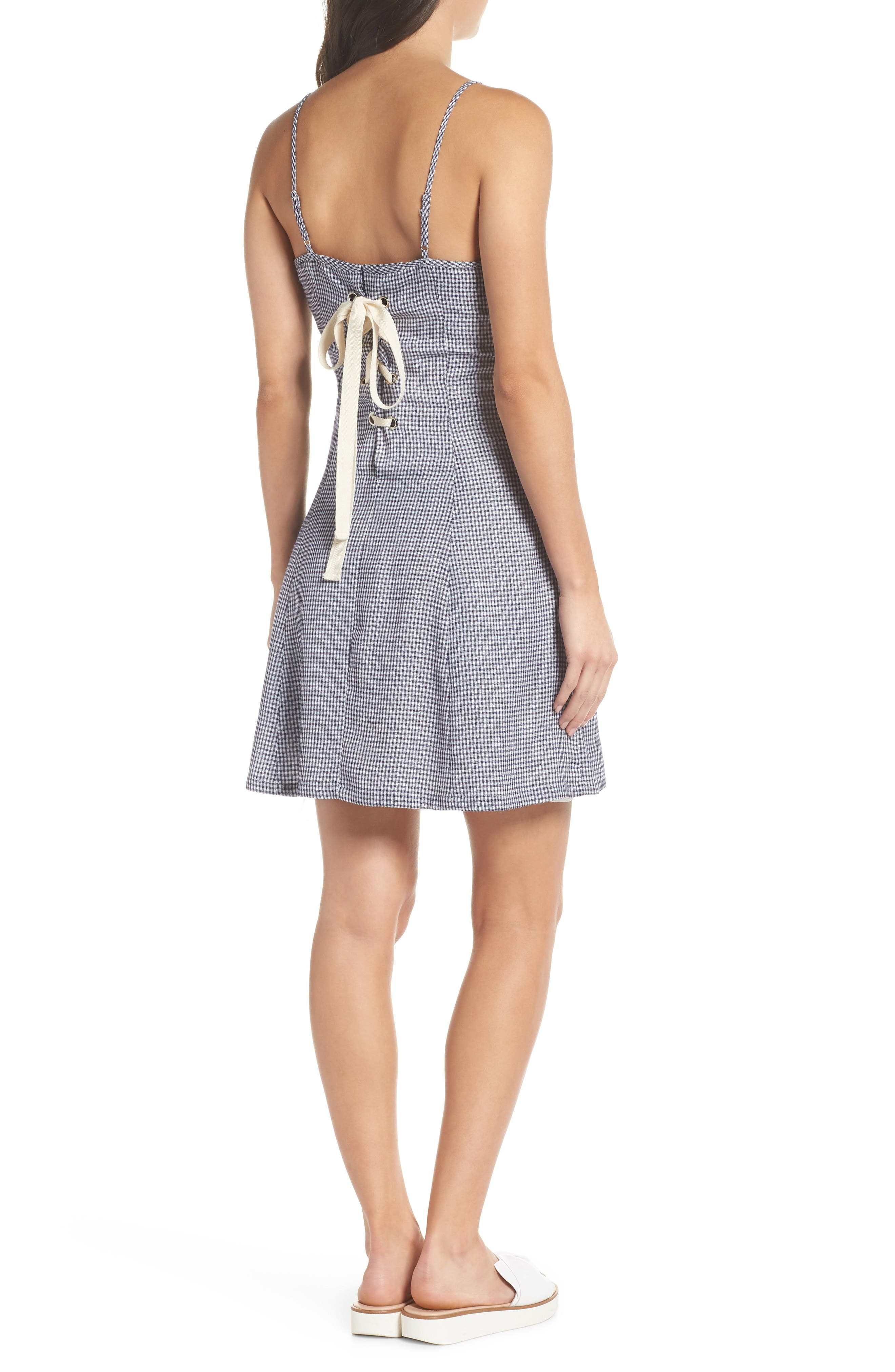 Back Lace-Up Fit & Flare Dress,                             Alternate thumbnail 2, color,                             Navy