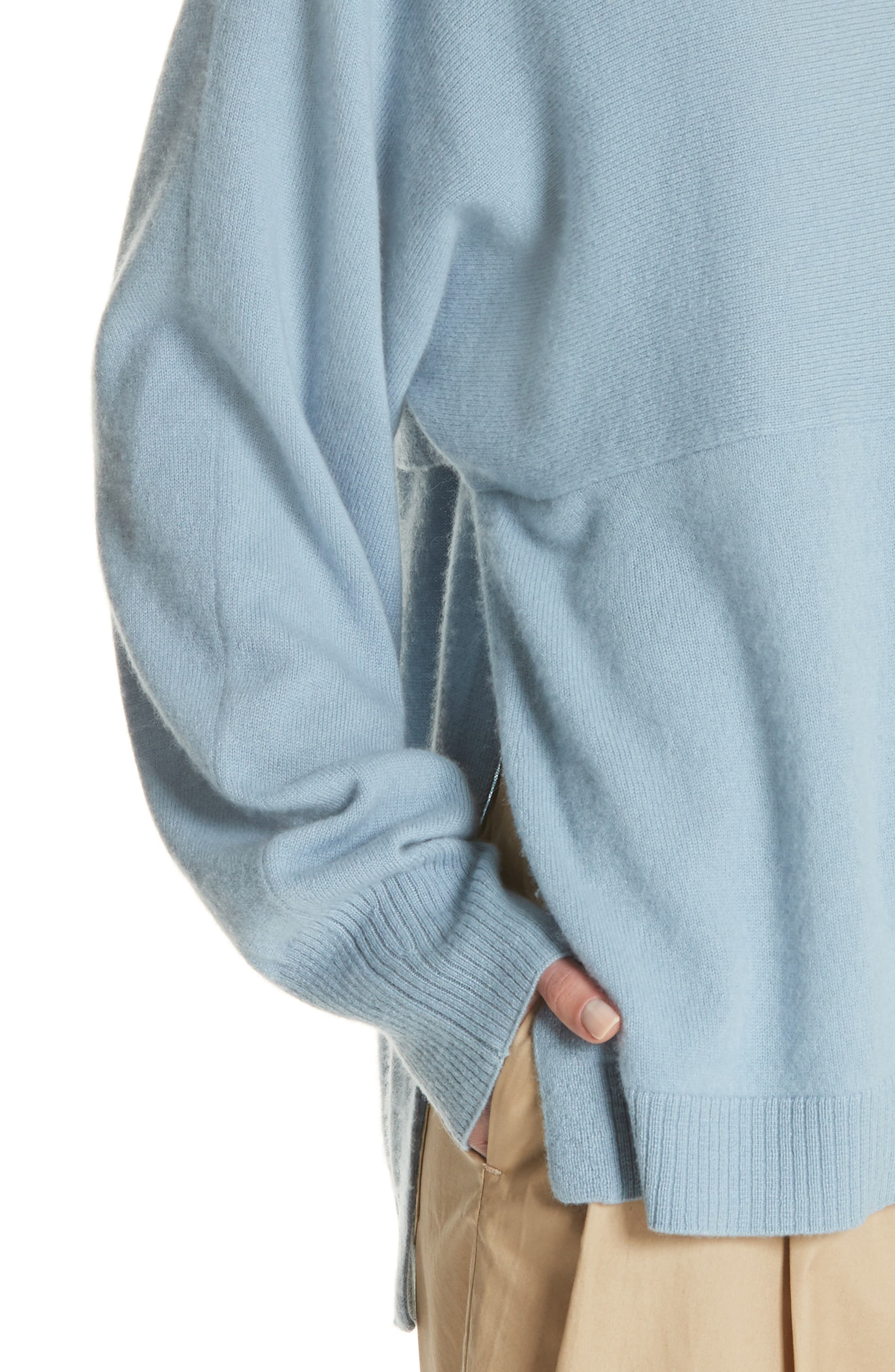 Layered Back Wool Cashmere Boatneck Sweater,                             Alternate thumbnail 4, color,                             Glass