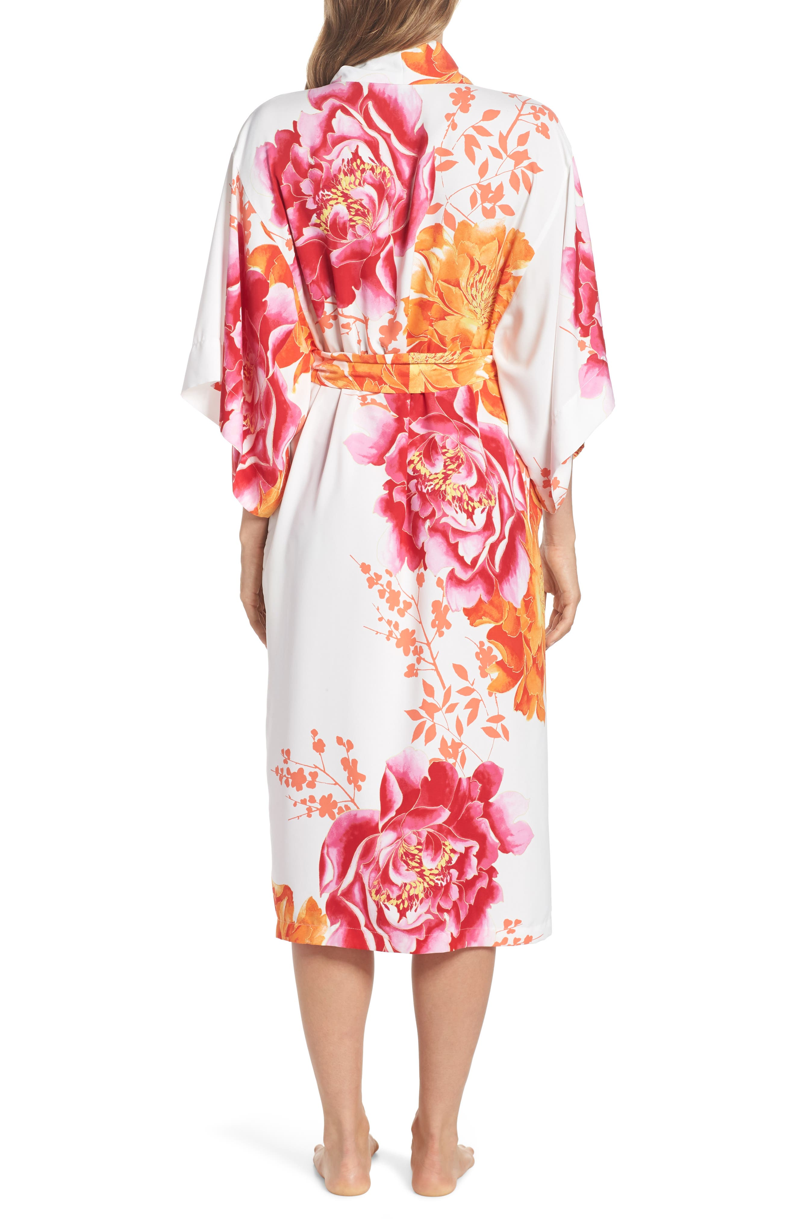 Bali Floral Print Robe,                             Alternate thumbnail 2, color,                             Warm White