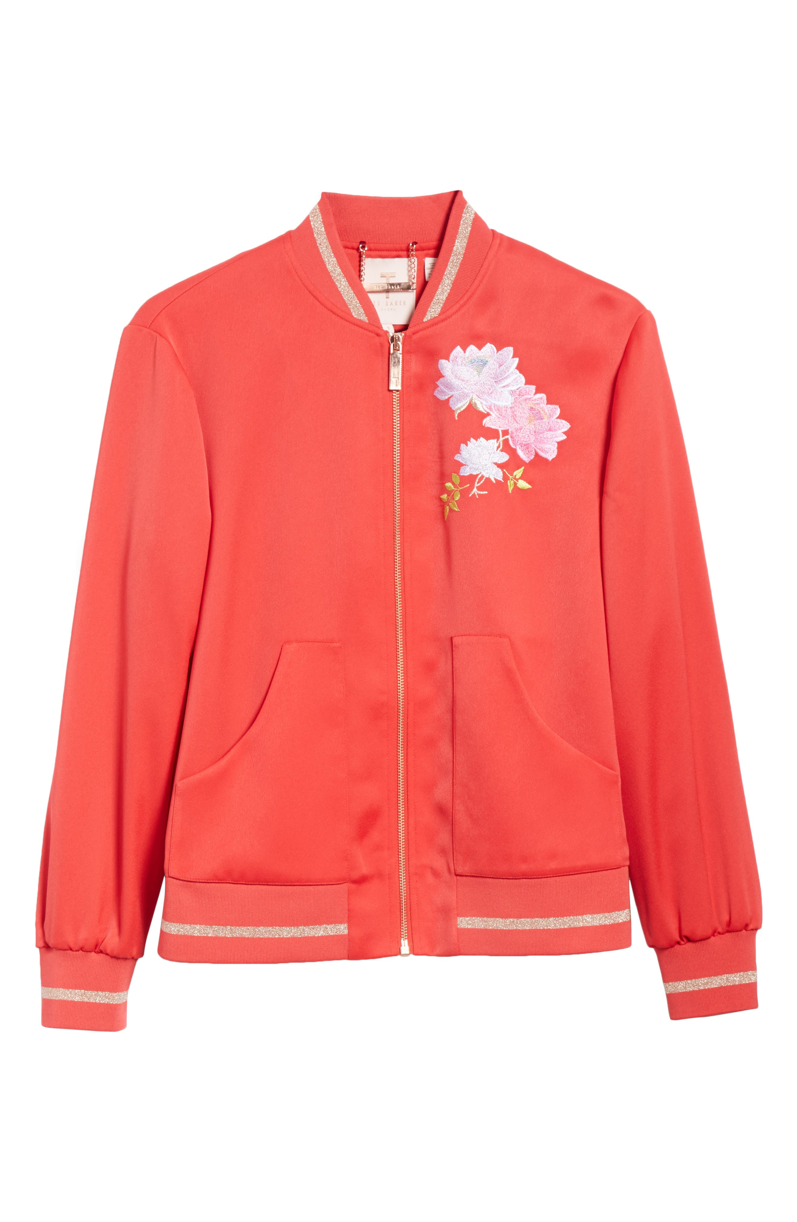 Ruuthe Chinoiserie Embroidery Jacket,                             Alternate thumbnail 6, color,                             Bright Red