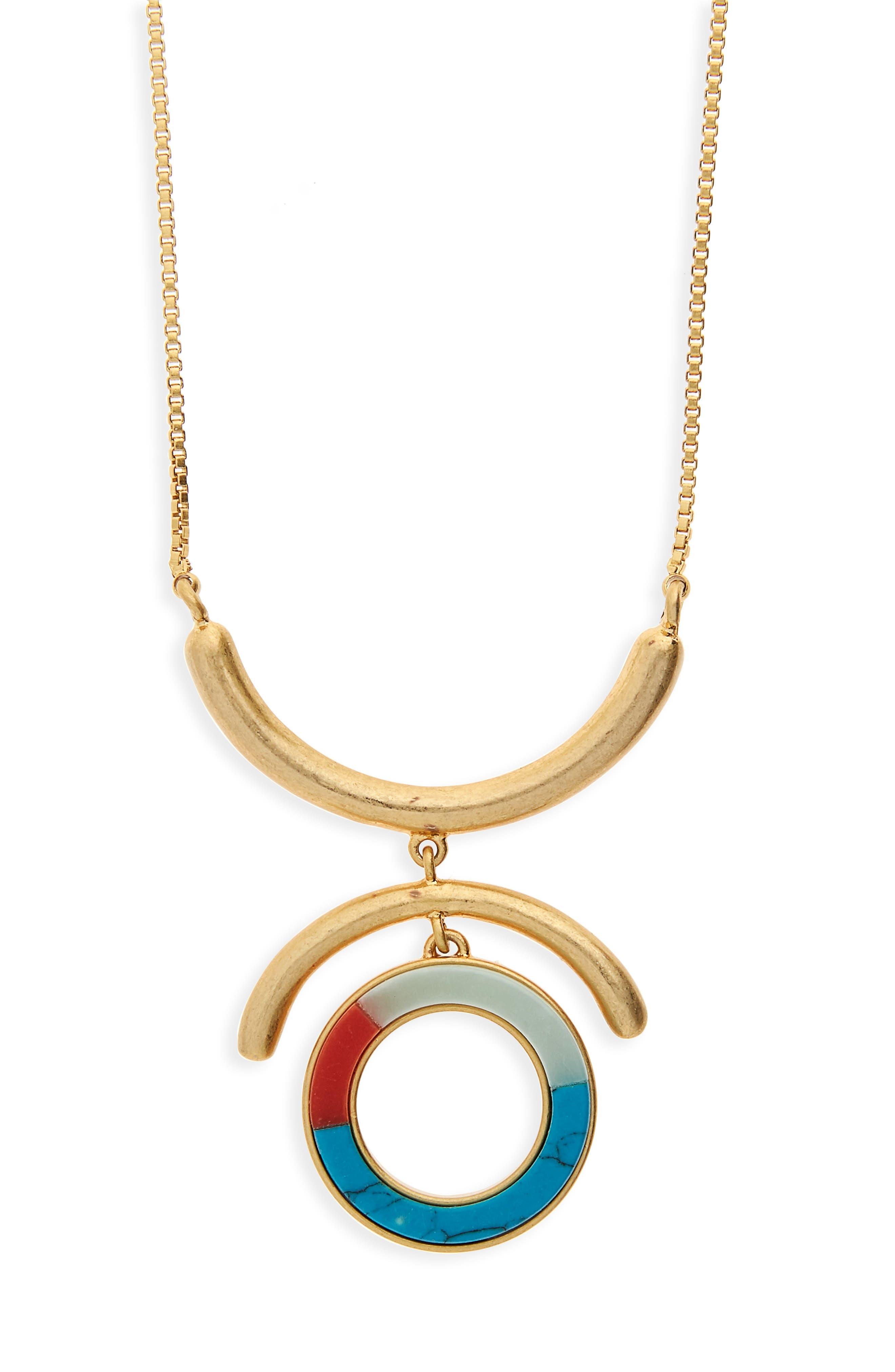 Madewell Circle Stone Pendant Necklace
