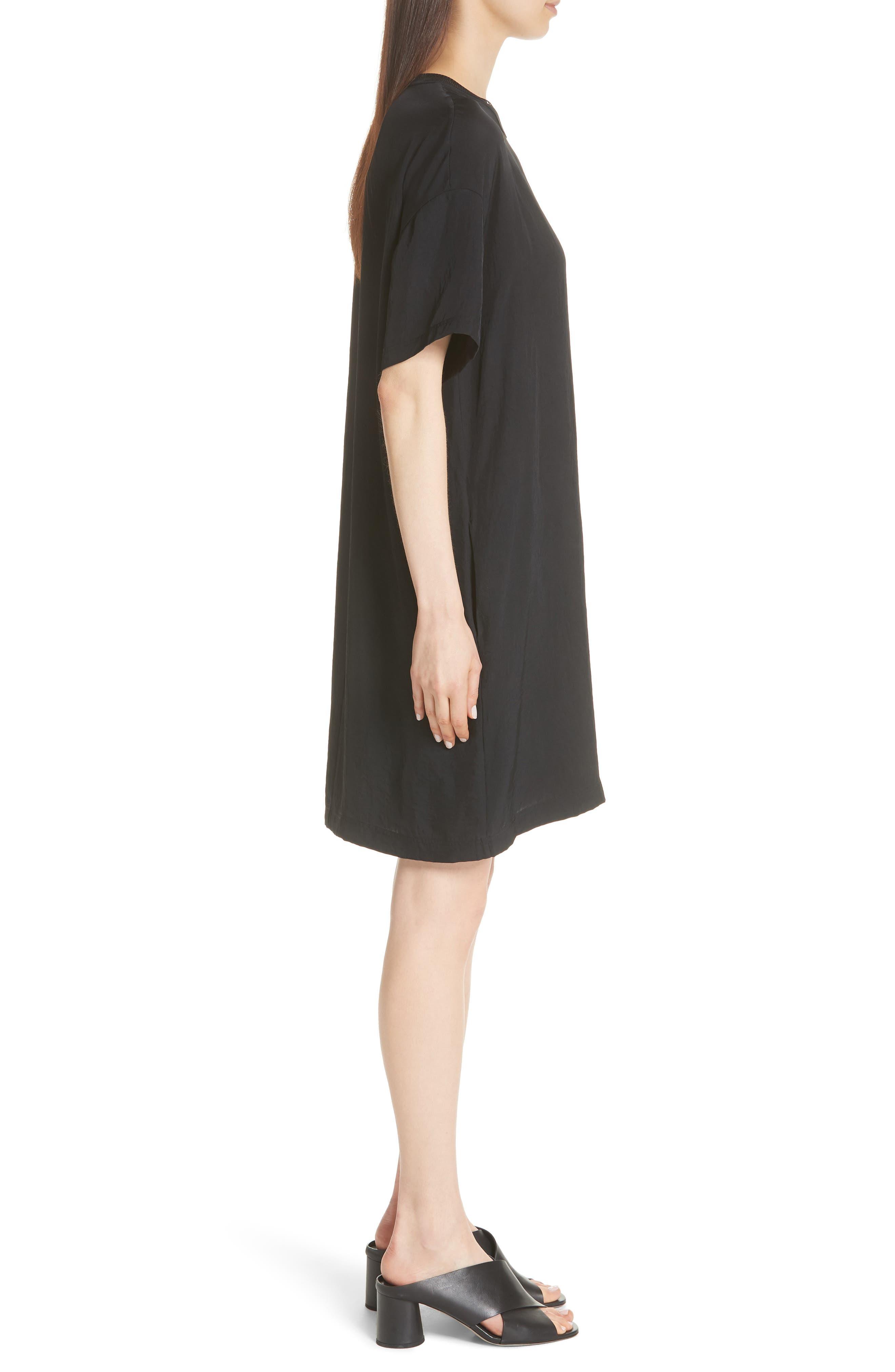Rib Trim Dress,                             Alternate thumbnail 5, color,                             Black