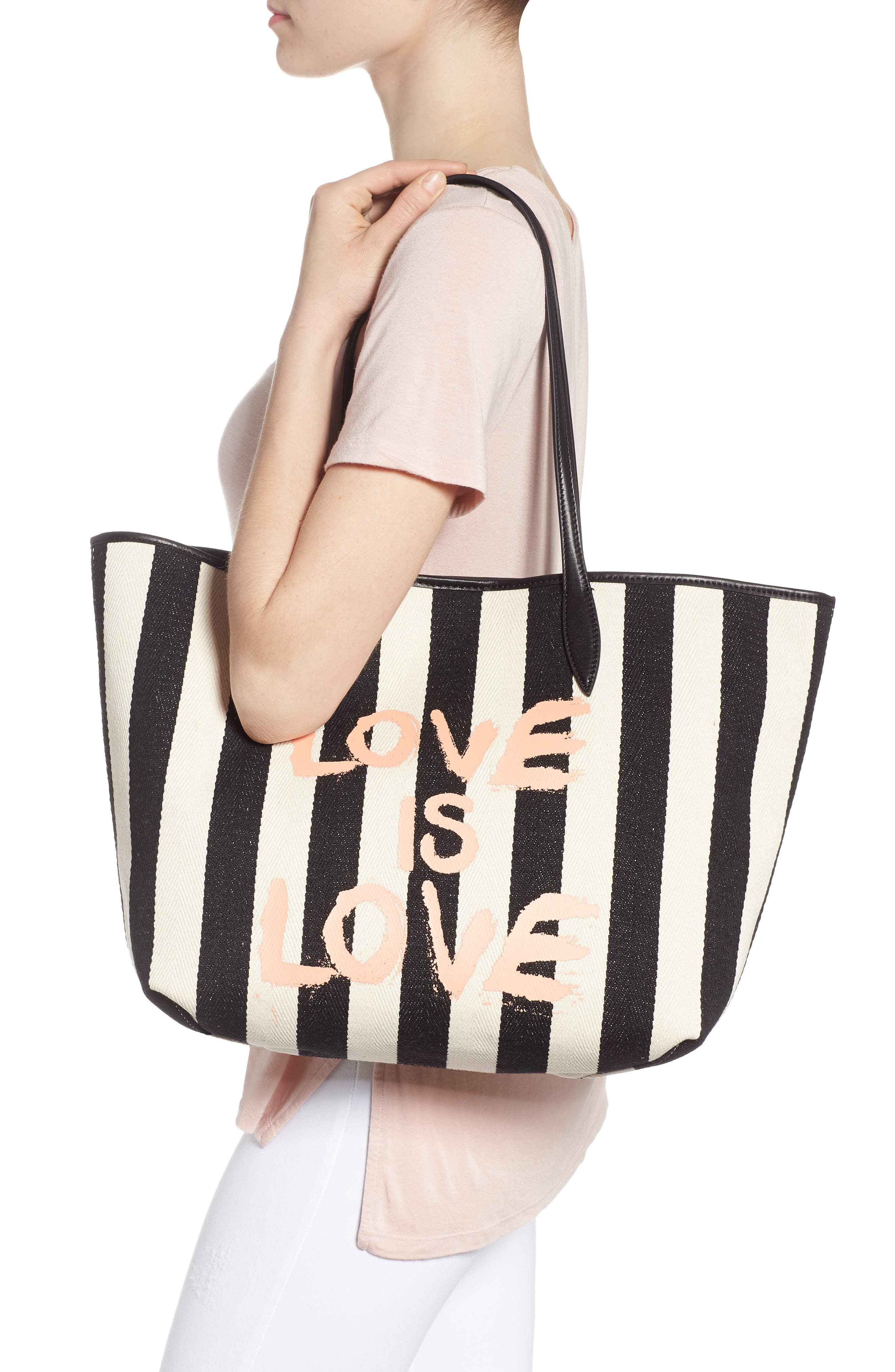 Large Heather Love is Love Canvas Tote,                             Alternate thumbnail 2, color,                             Black/ White