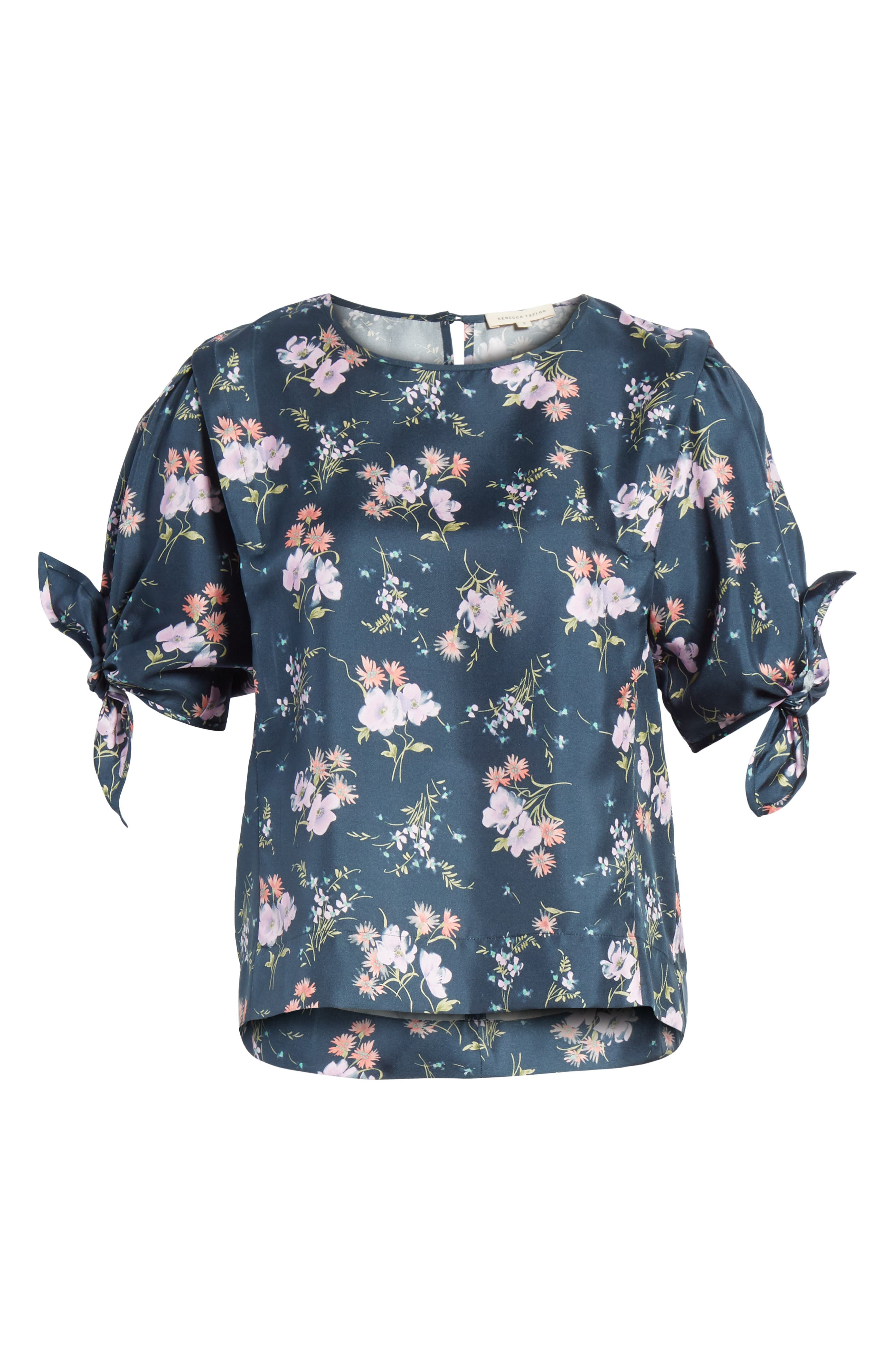 Emilia Tie Sleeve Floral Top,                             Alternate thumbnail 6, color,                             Teal Combo