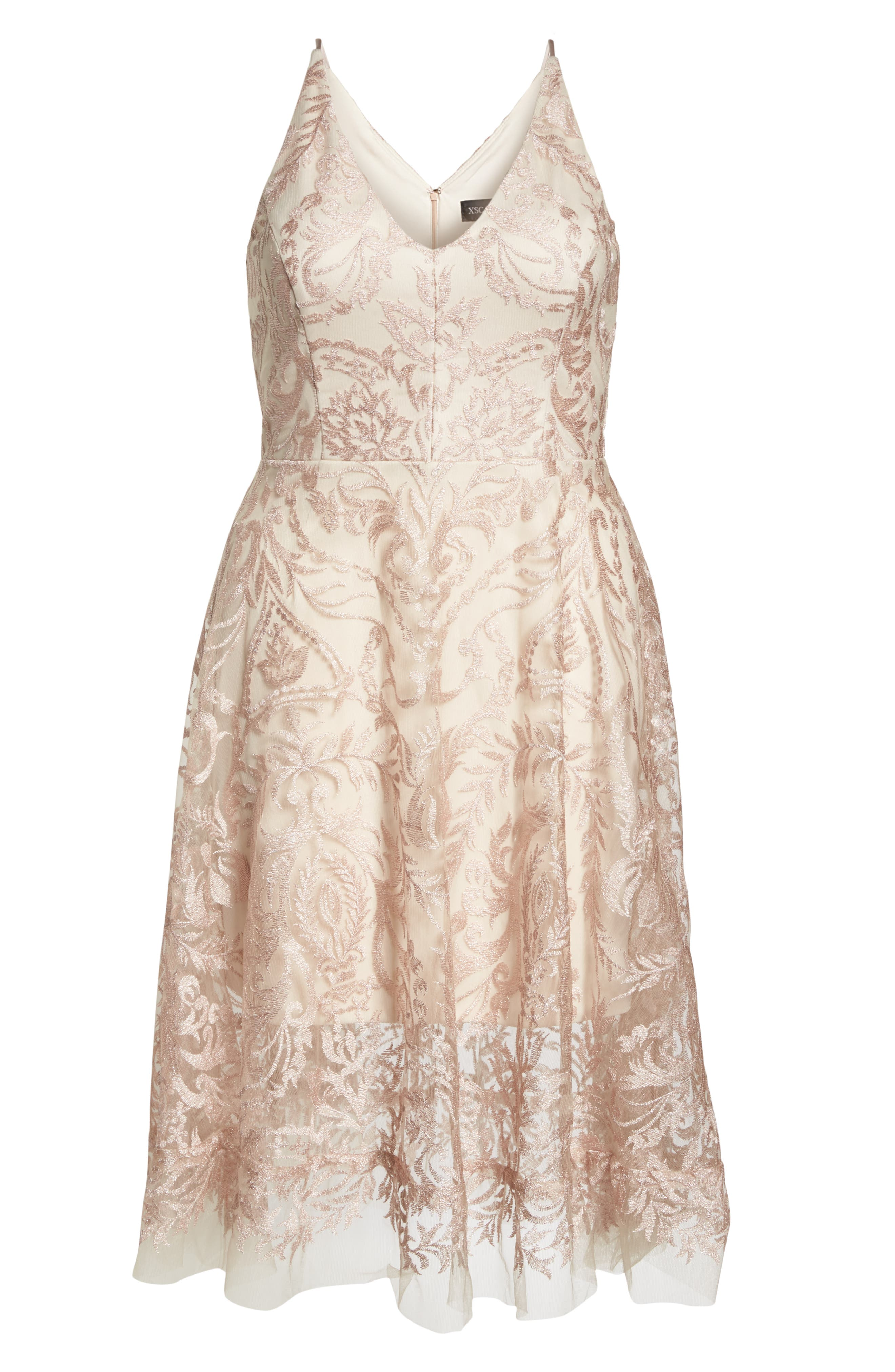 Embroidered Fit & Flare Dress,                             Alternate thumbnail 6, color,                             Blush