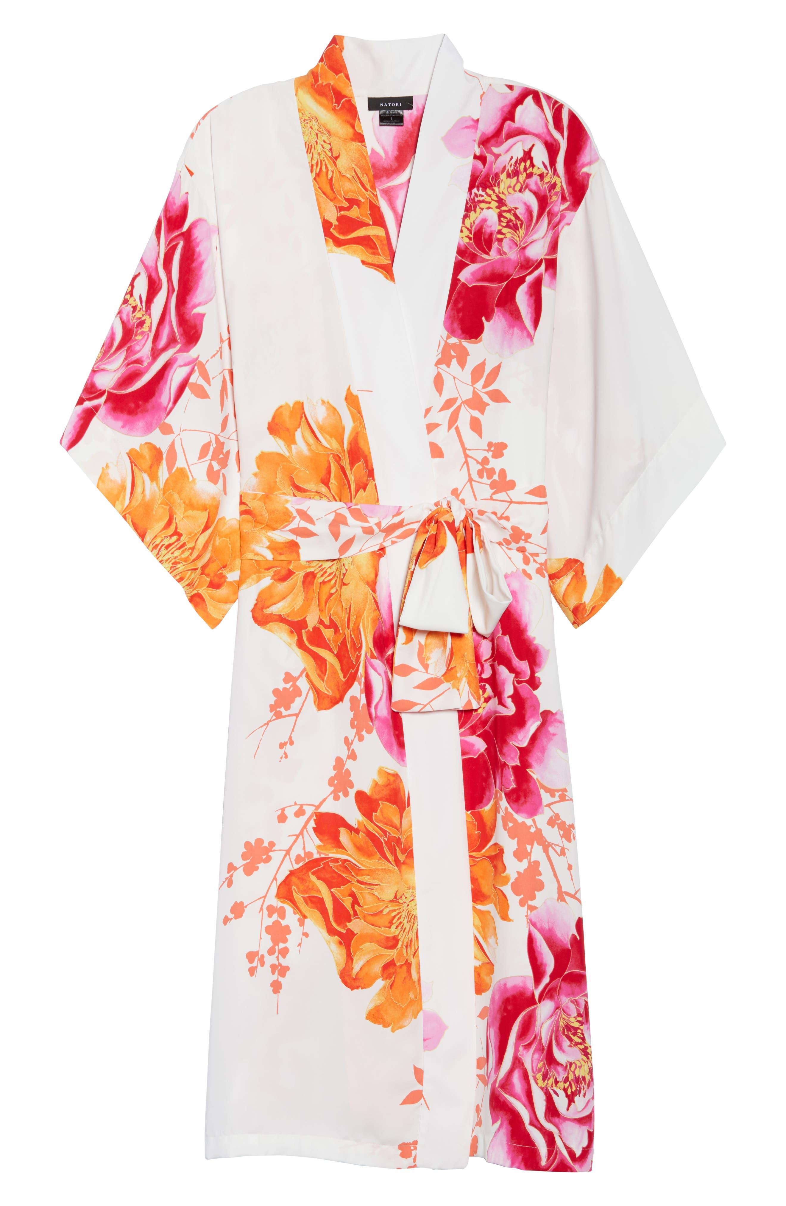 Bali Floral Print Robe,                             Alternate thumbnail 4, color,                             Warm White
