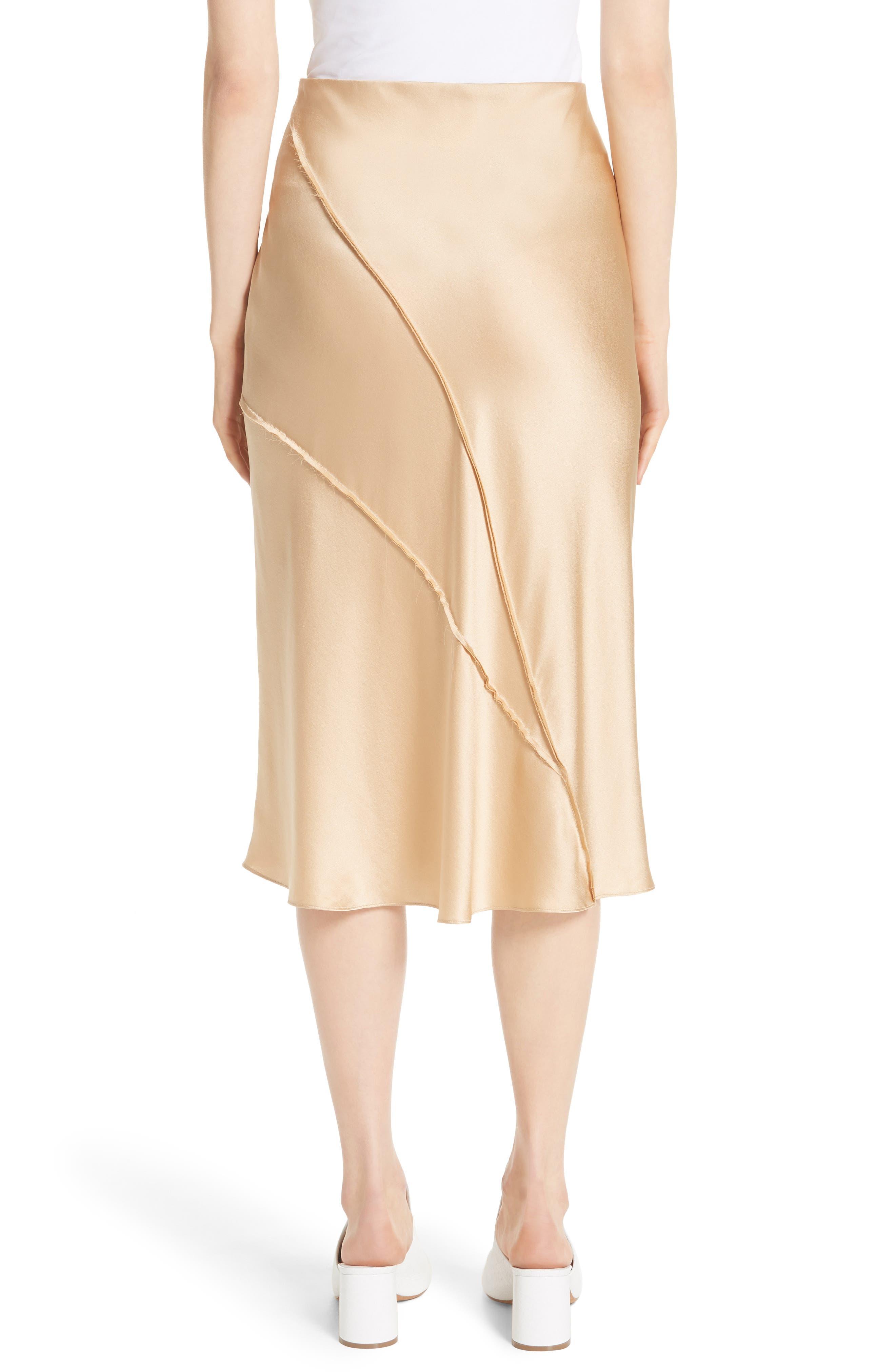 Raw Edge Bias Silk Skirt,                             Alternate thumbnail 2, color,                             Ginseng
