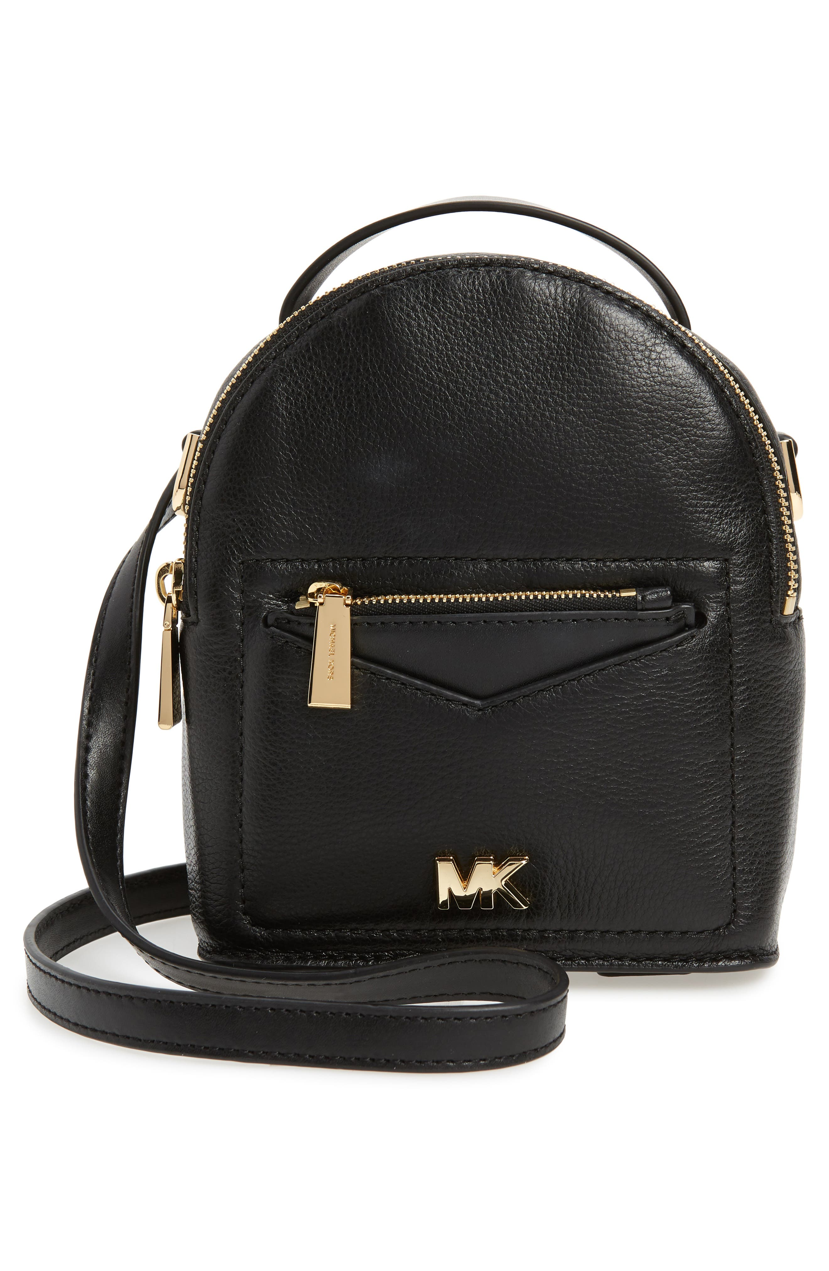 X-Small Convertible Leather Backpack,                             Alternate thumbnail 5, color,                             Black