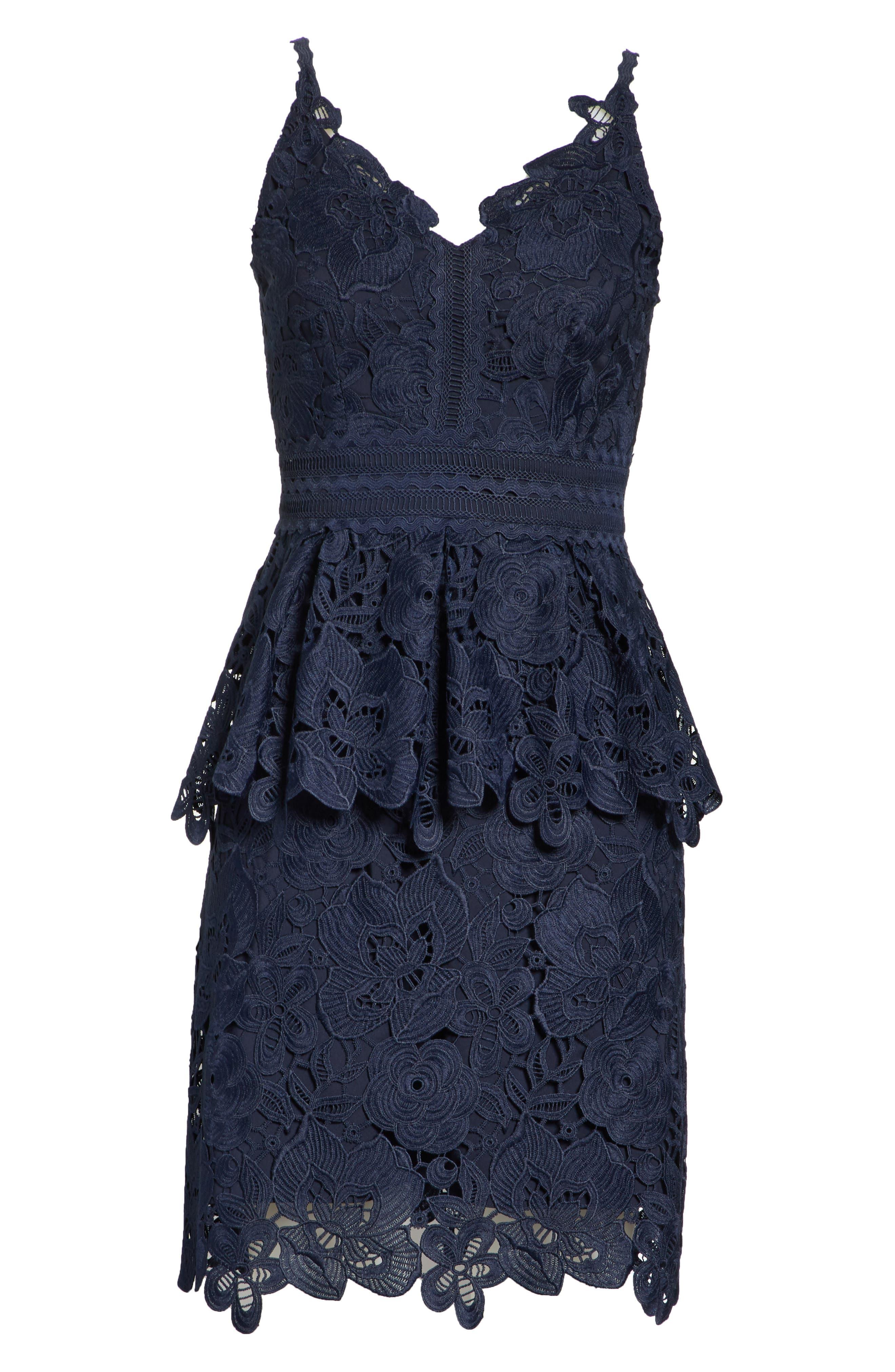 Lace Peplum Dress,                             Alternate thumbnail 6, color,                             Navy