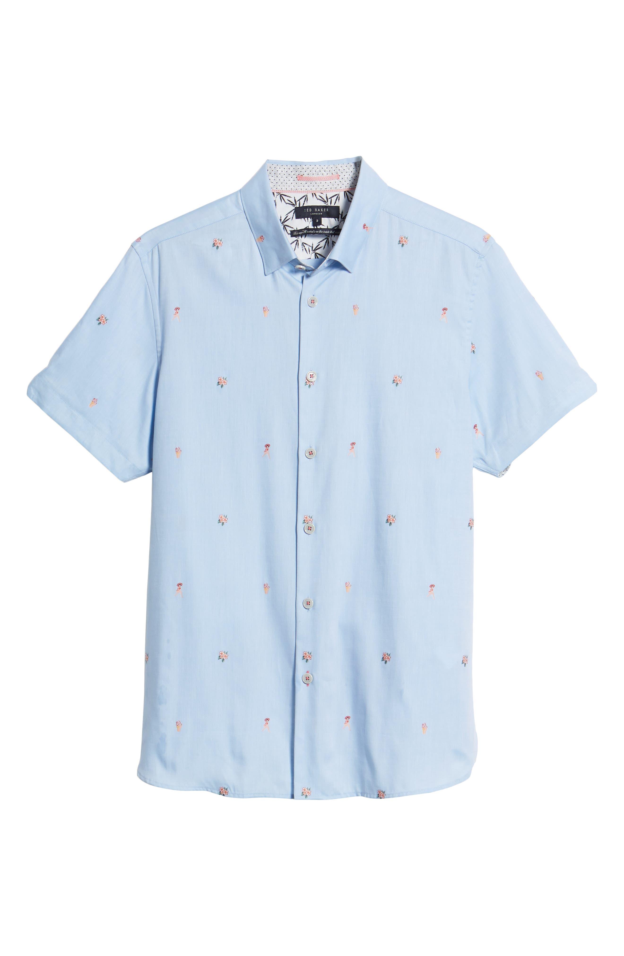 Aloha Trim Fit Sport Shirt,                             Alternate thumbnail 6, color,                             Blue