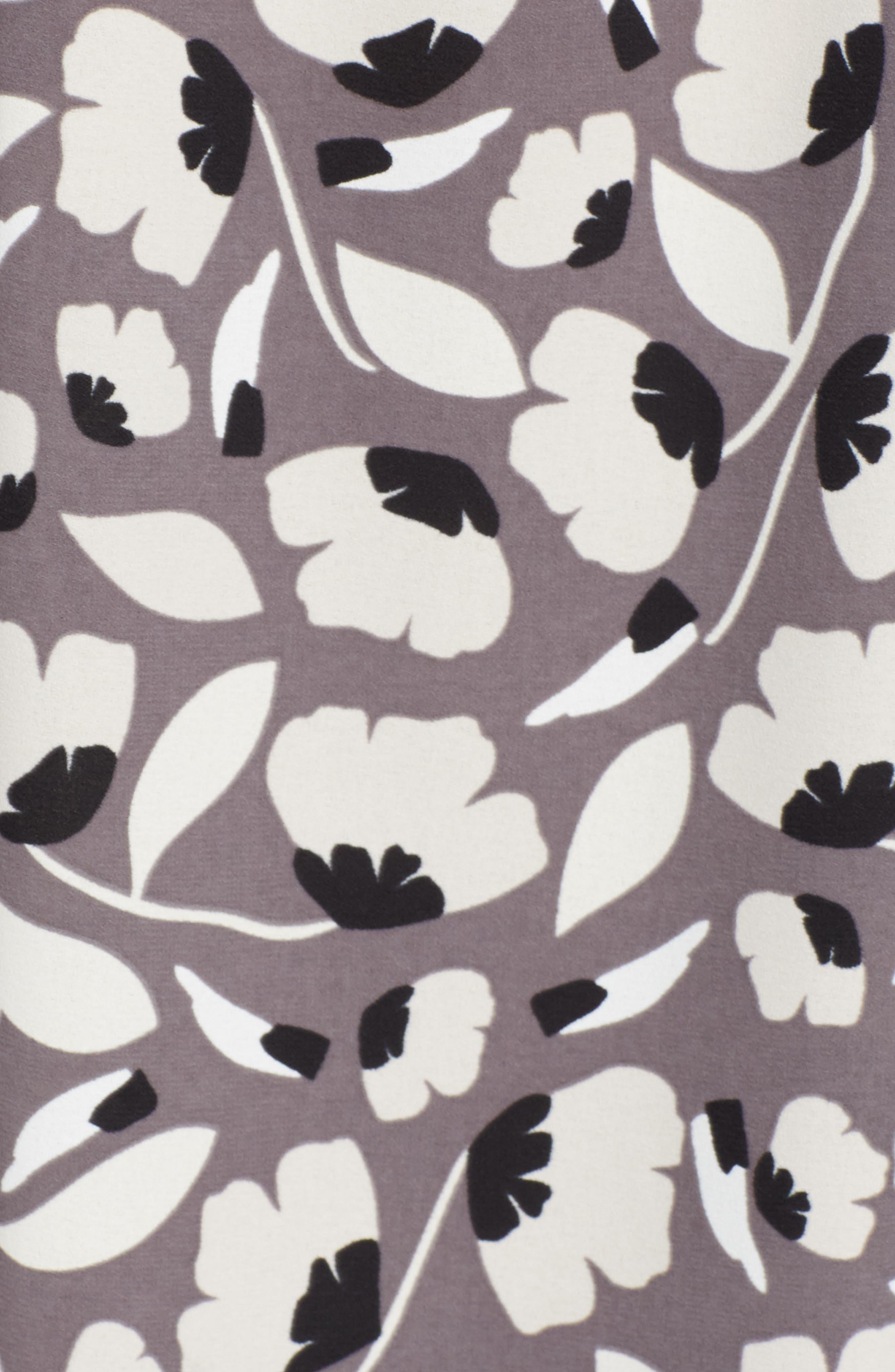 Floral Drawstring Dress,                             Alternate thumbnail 6, color,                             Nantucket Grey/ Oyster Shell