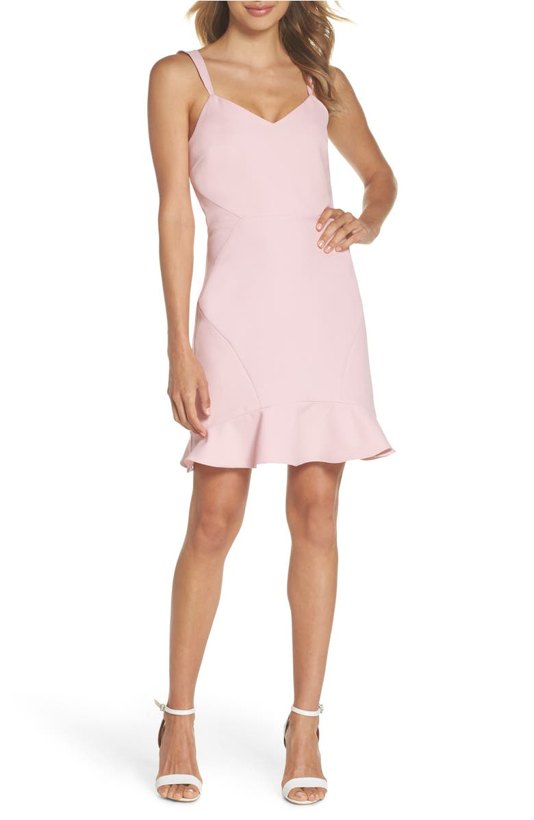 Ruffle Hem Minidress,                         Main,                         color, Blush