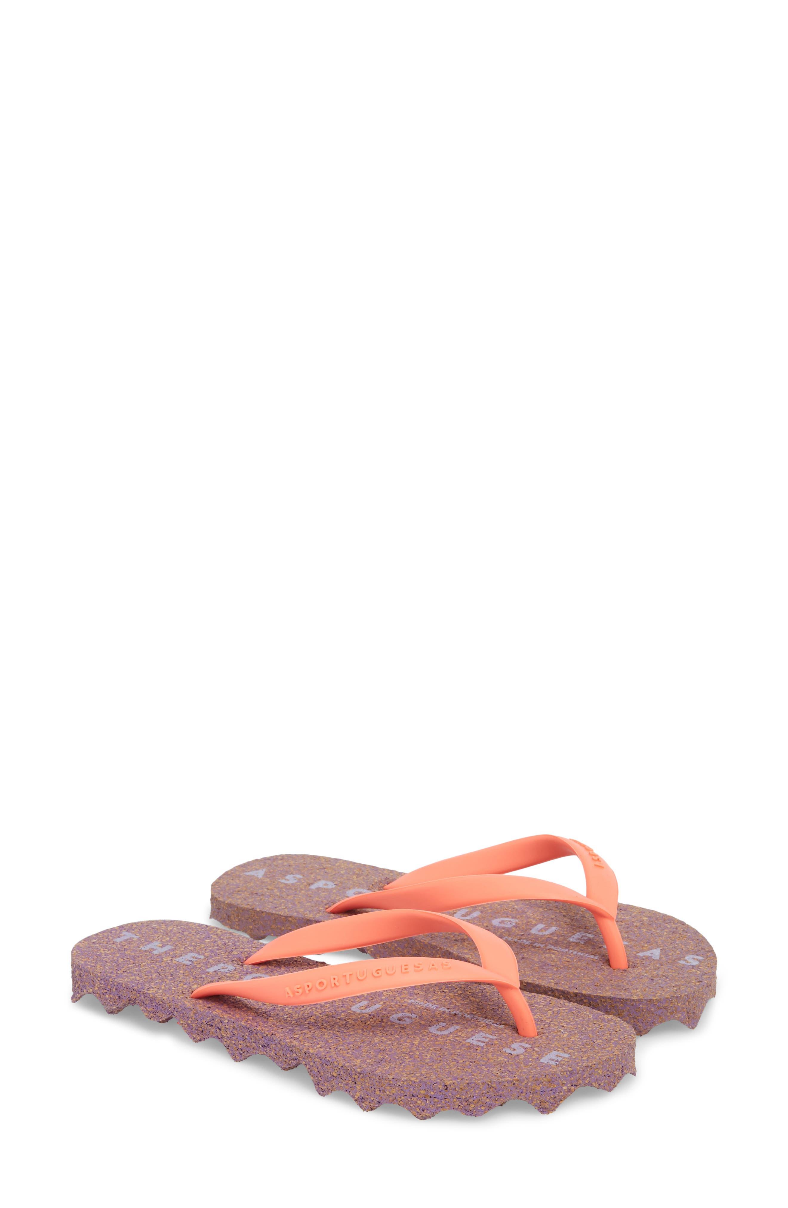 Base 000 Flip Flop,                             Alternate thumbnail 3, color,                             Coral/ Purple Fabric