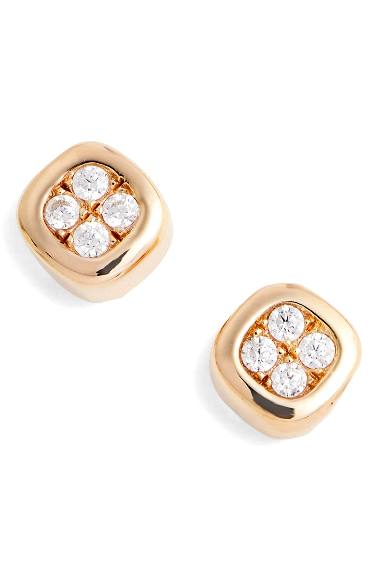Foursquare Simulated Diamond Earrings,                             Main thumbnail 1, color,                             Silver/ Gold/ Clear