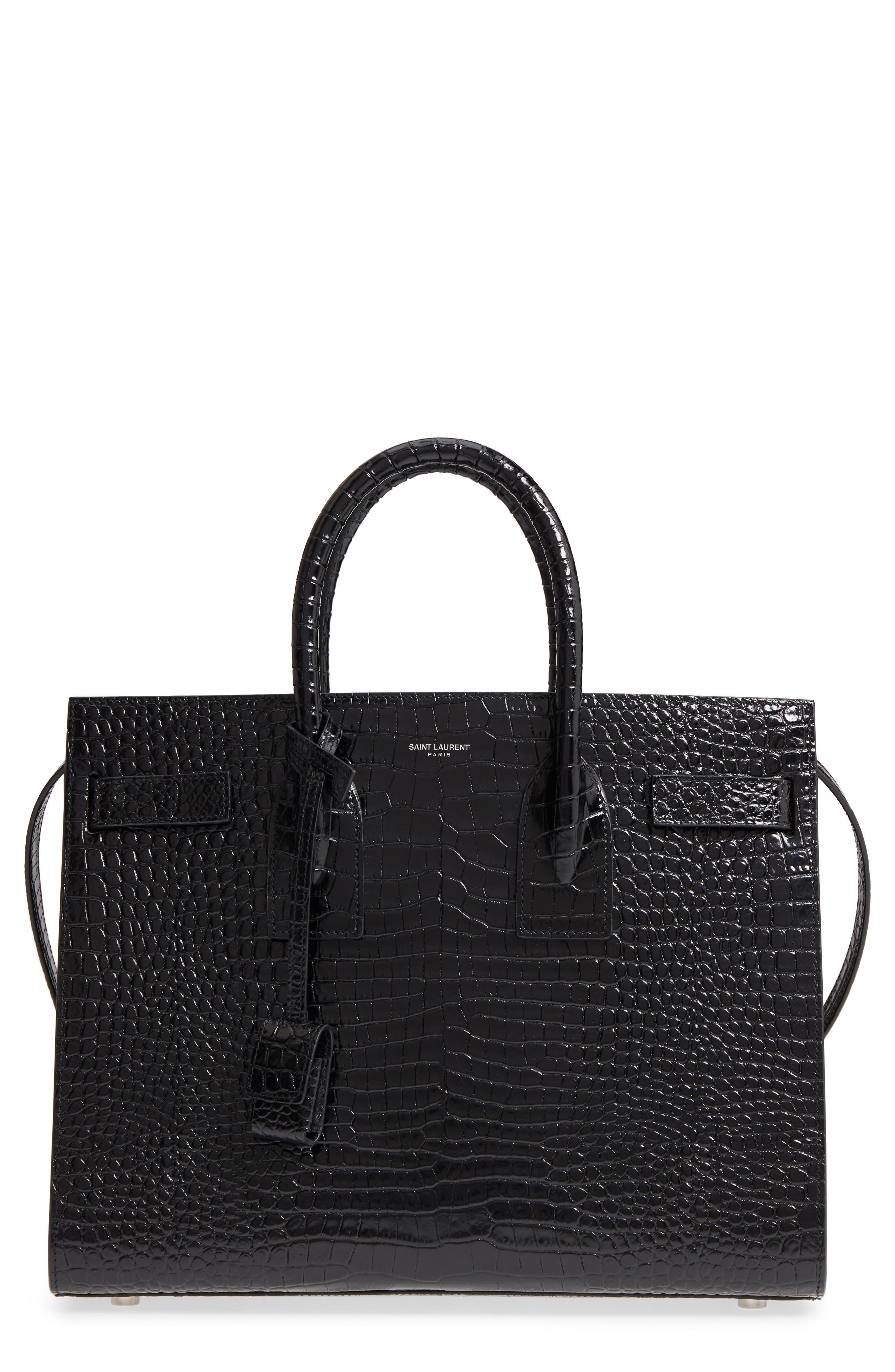 Small Sac de Jour Croc Embossed Calfskin Leather Tote,                         Main,                         color, Nero/ Nero