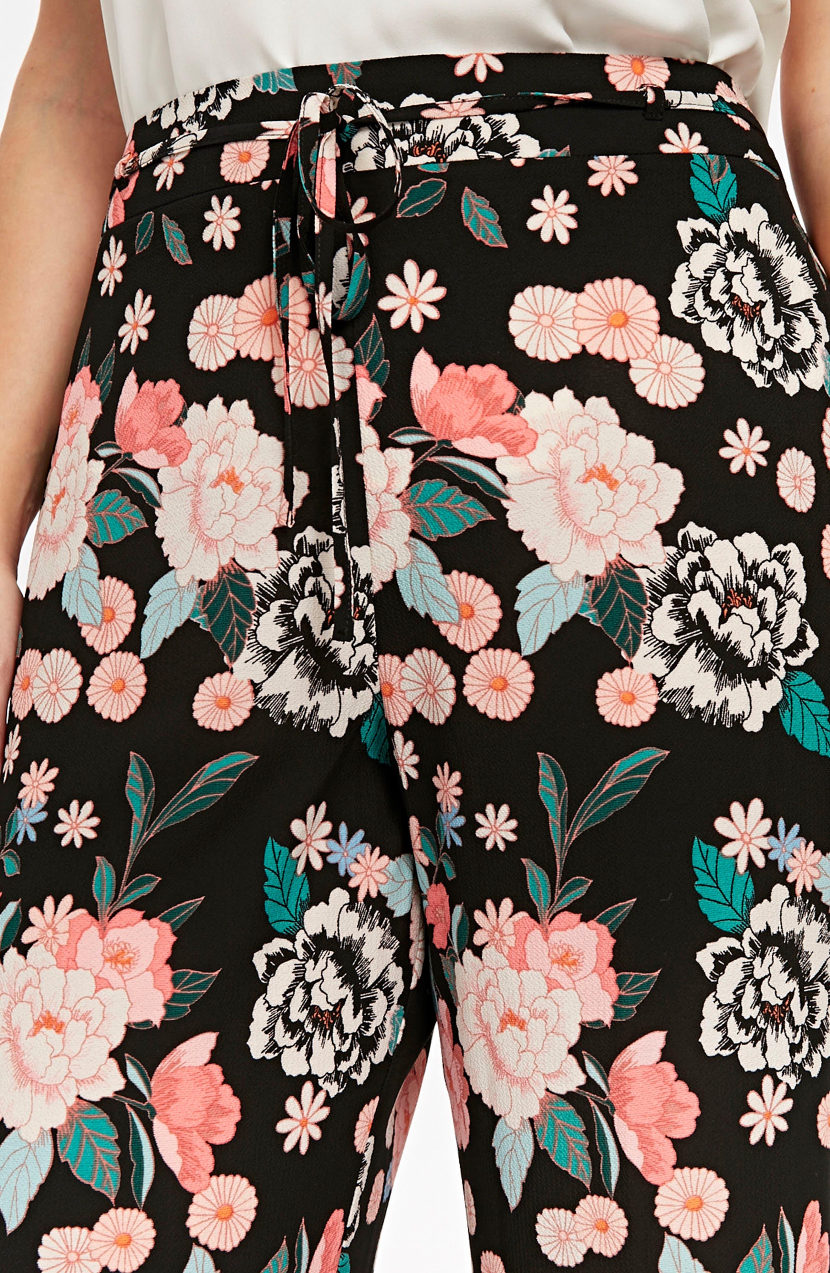 Border Floral Wide Leg Pants,                             Alternate thumbnail 2, color,                             Black