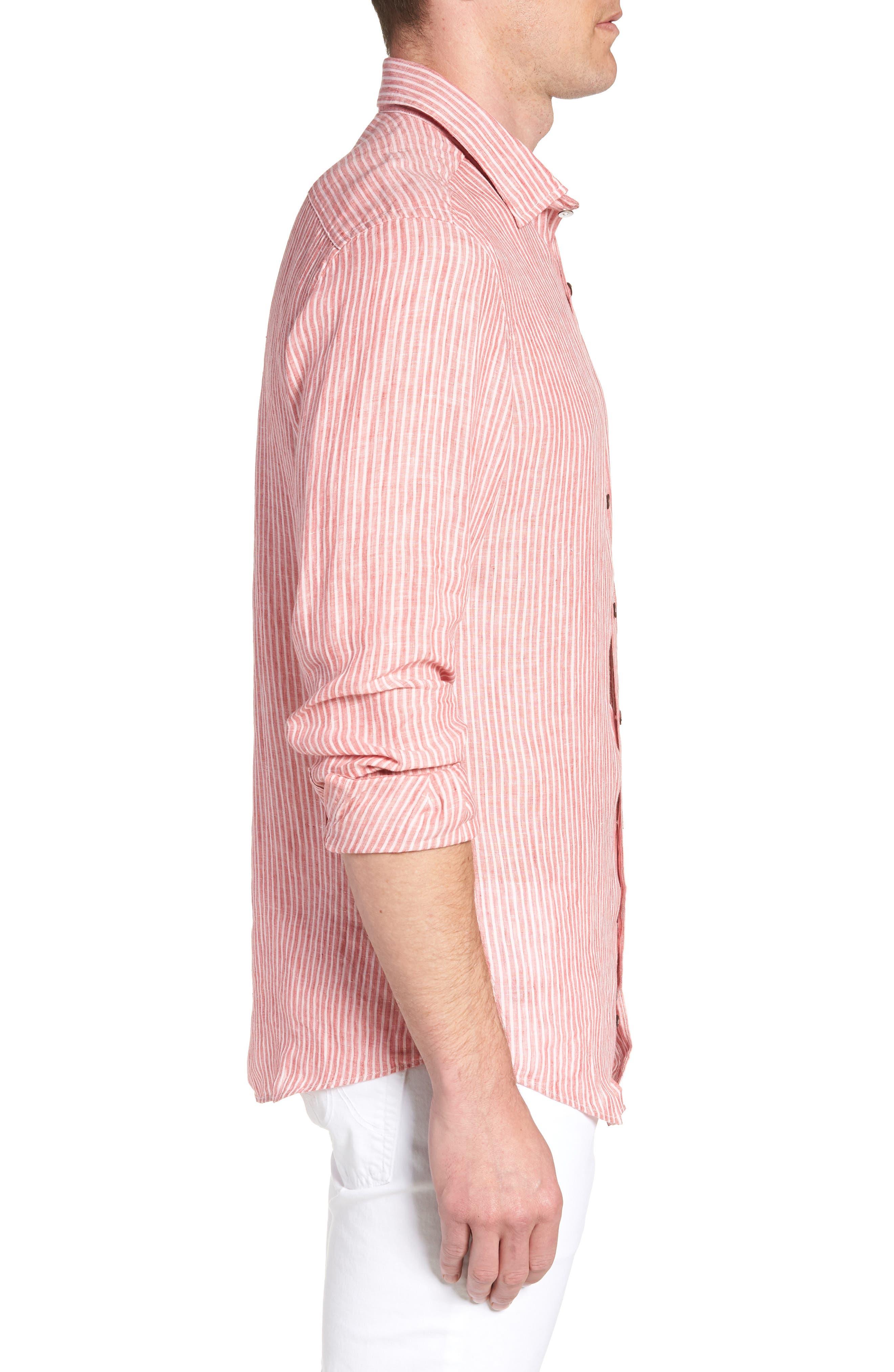 Warwick Junction Stripe Linen Sport Shirt,                             Alternate thumbnail 4, color,                             Coral