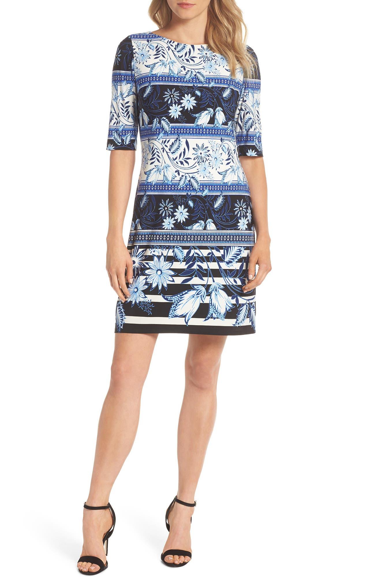 Print Elbow Sleeve Shift Dress,                         Main,                         color, Navy