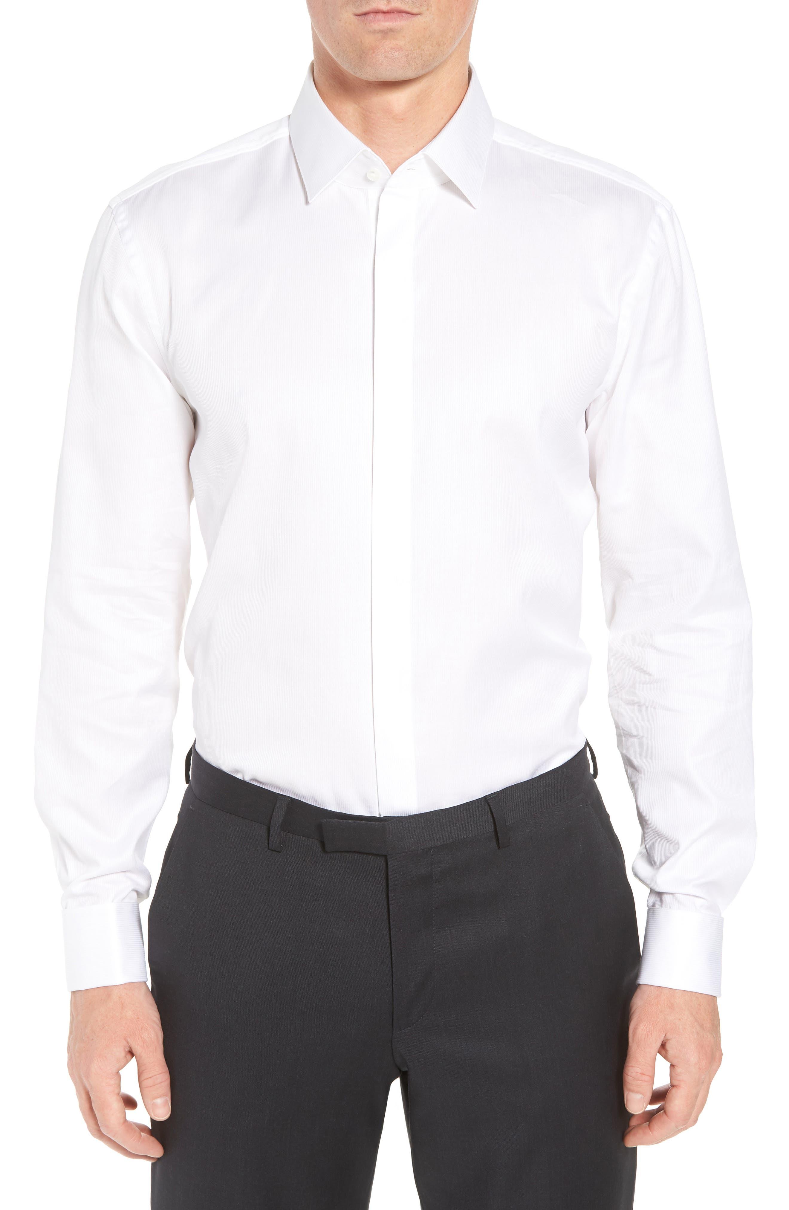 Myron Sharp Fit Tuxedo Shirt,                             Main thumbnail 1, color,                             White