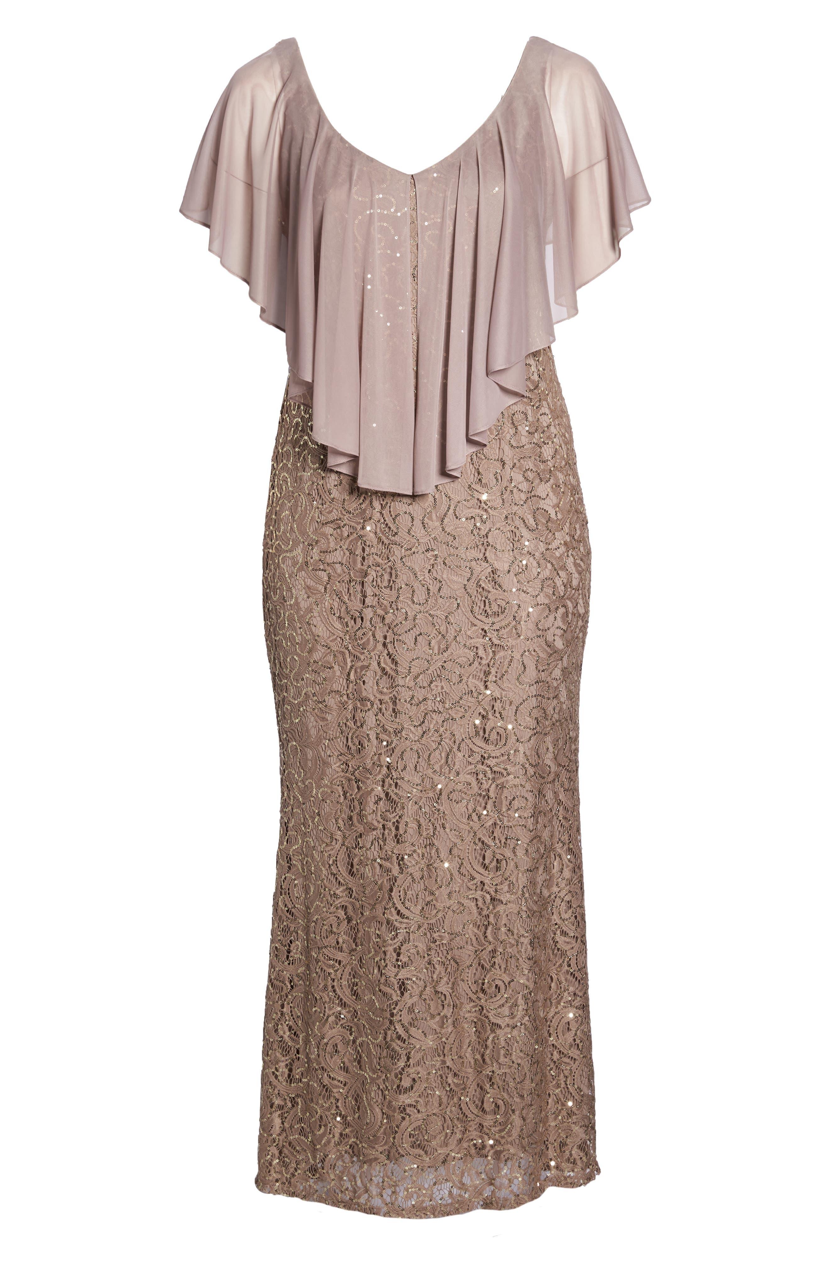 Capelet Sequin Lace A-Line Gown,                             Alternate thumbnail 6, color,                             Mocha