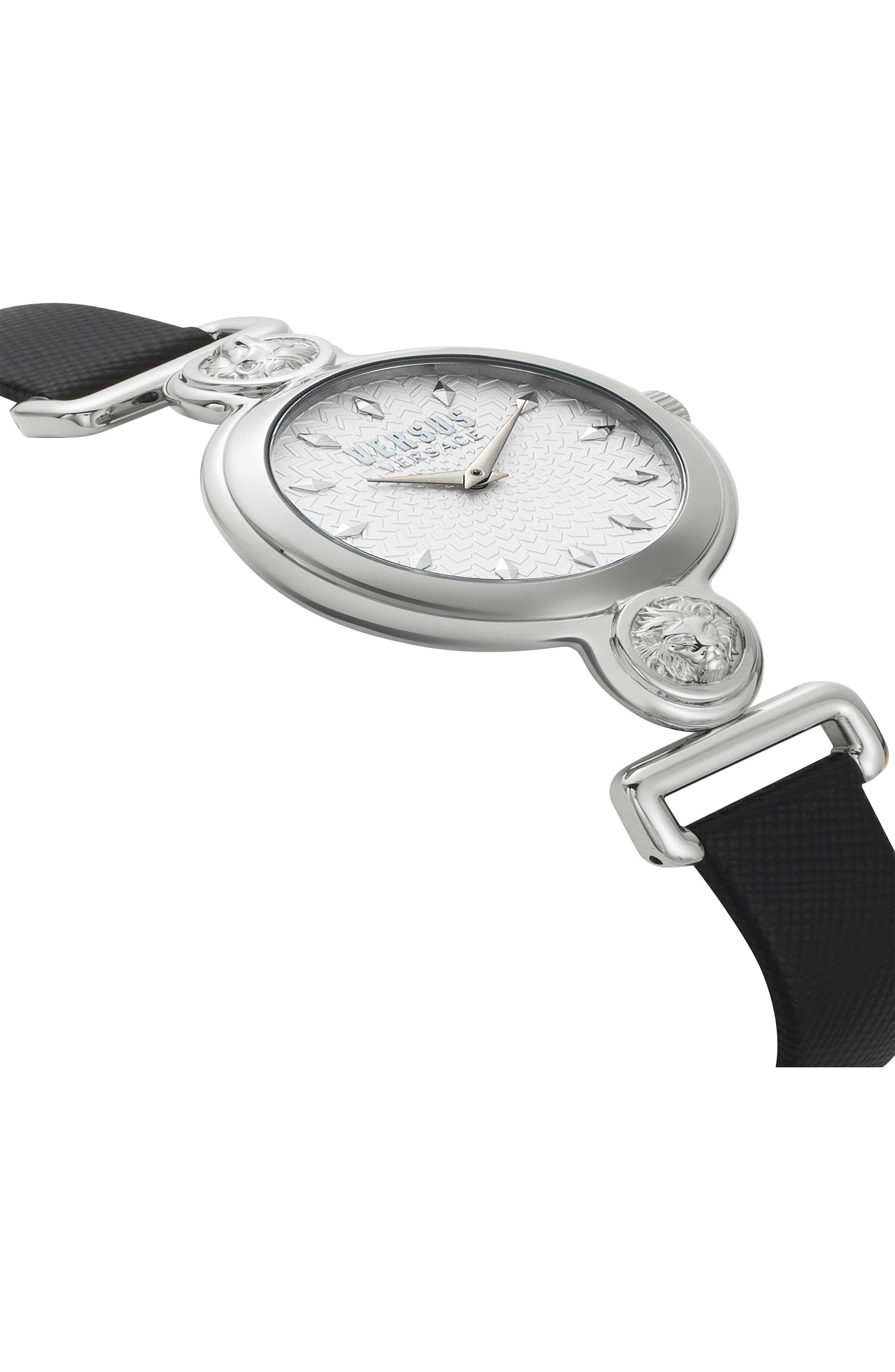 VERSUS by Versace Sunnyridge Leather Strap Watch, 34mm,                             Alternate thumbnail 3, color,                             Black/ Silver