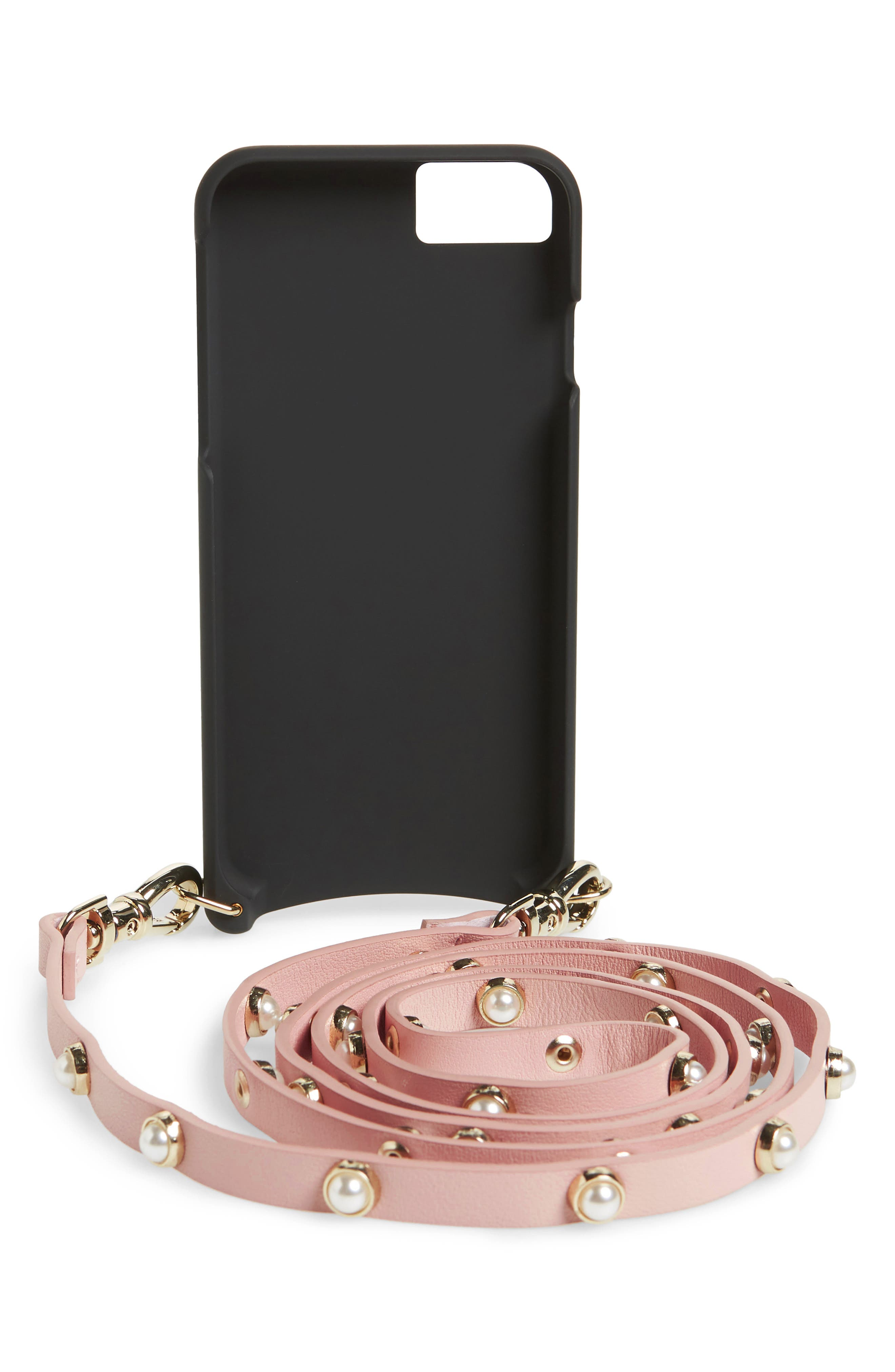 Claire Leather iPhone 7/8 & 7/8 Plus Crossbody Case,                             Alternate thumbnail 3, color,                             Pink/ Pearl