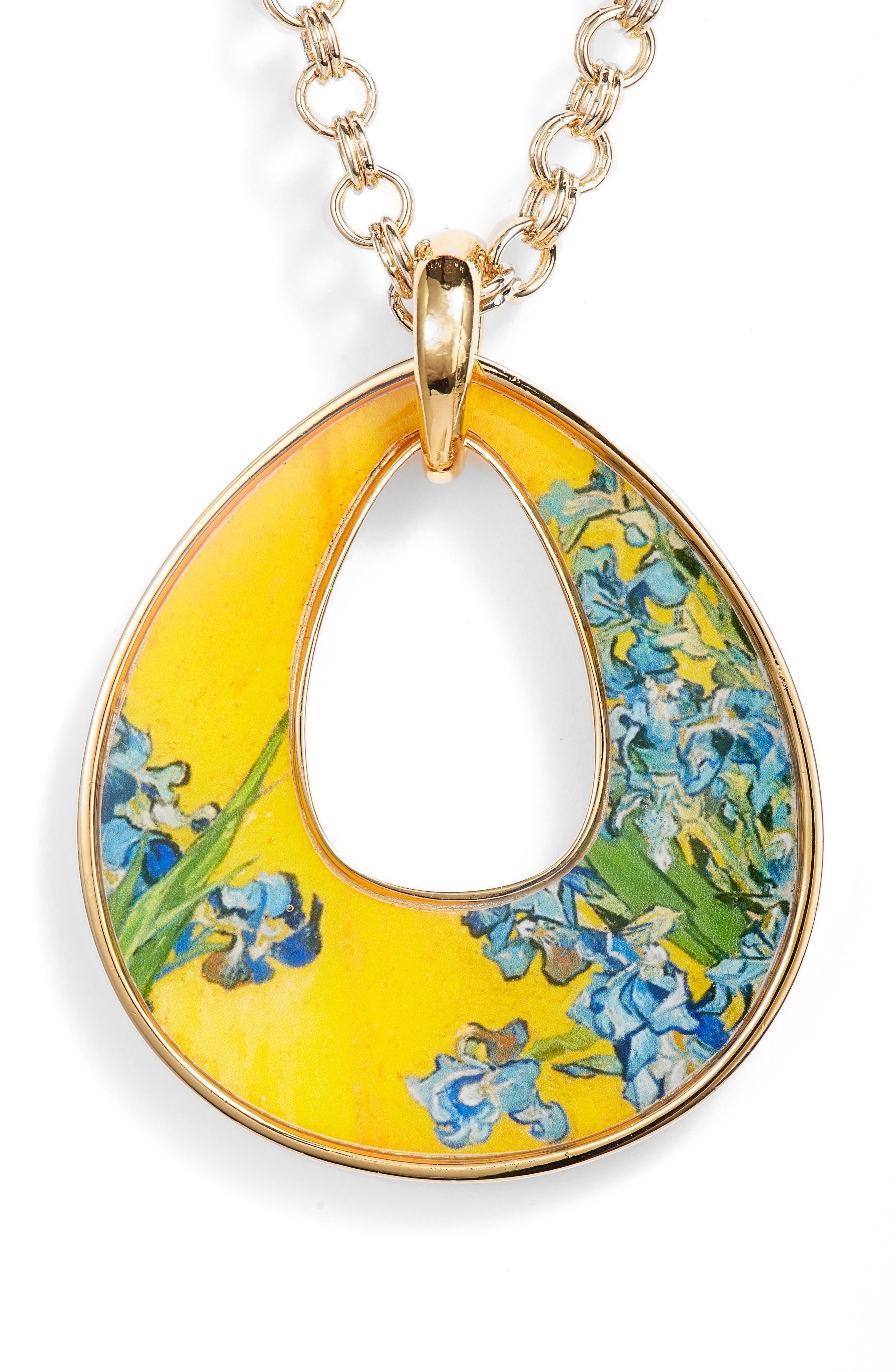 Irises Open Teardrop Pendant Necklace,                             Main thumbnail 1, color,                             Multi