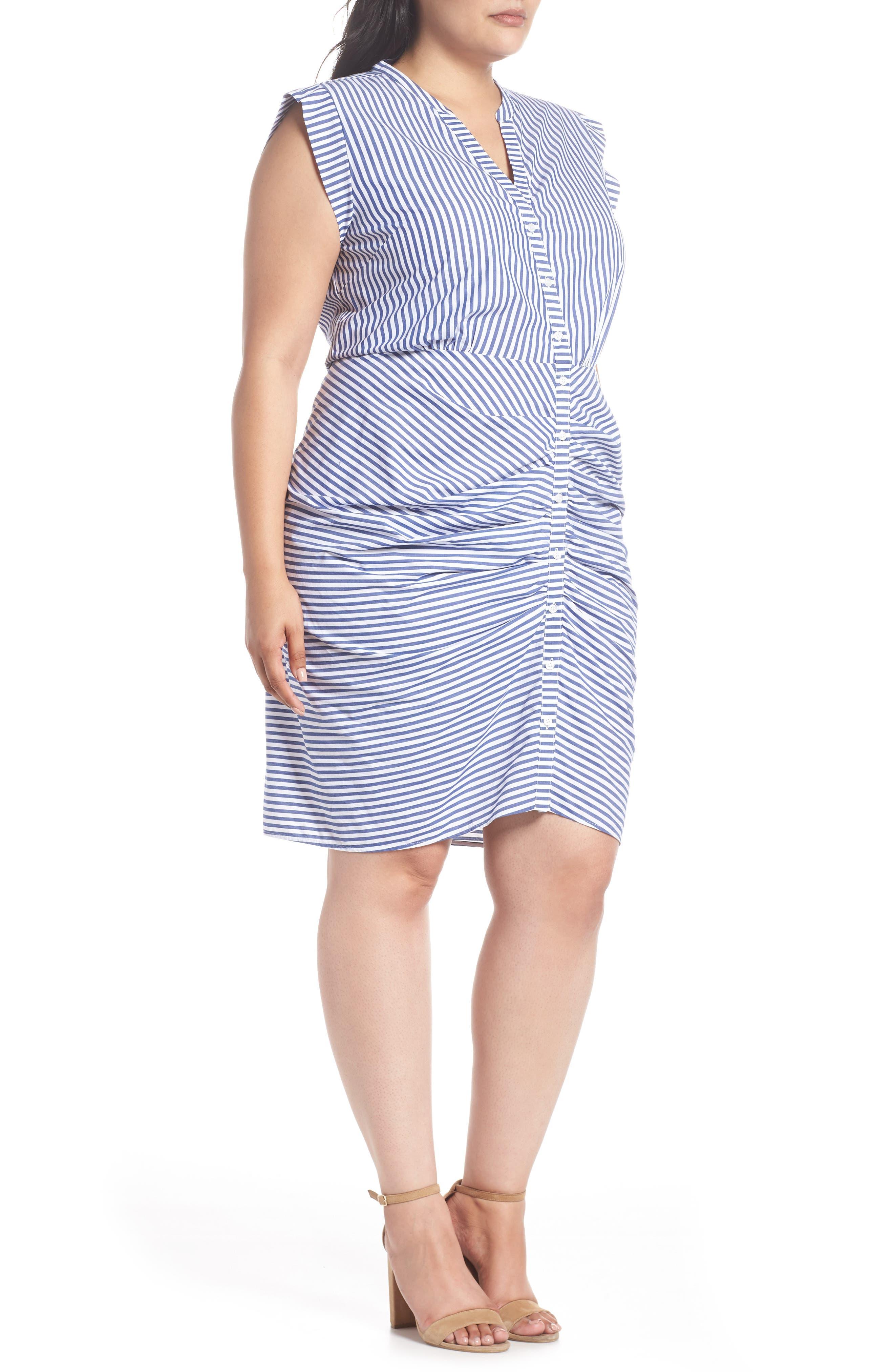 Stripe Ruched Cotton Shirtdress,                             Alternate thumbnail 6, color,                             Blue White Stripe