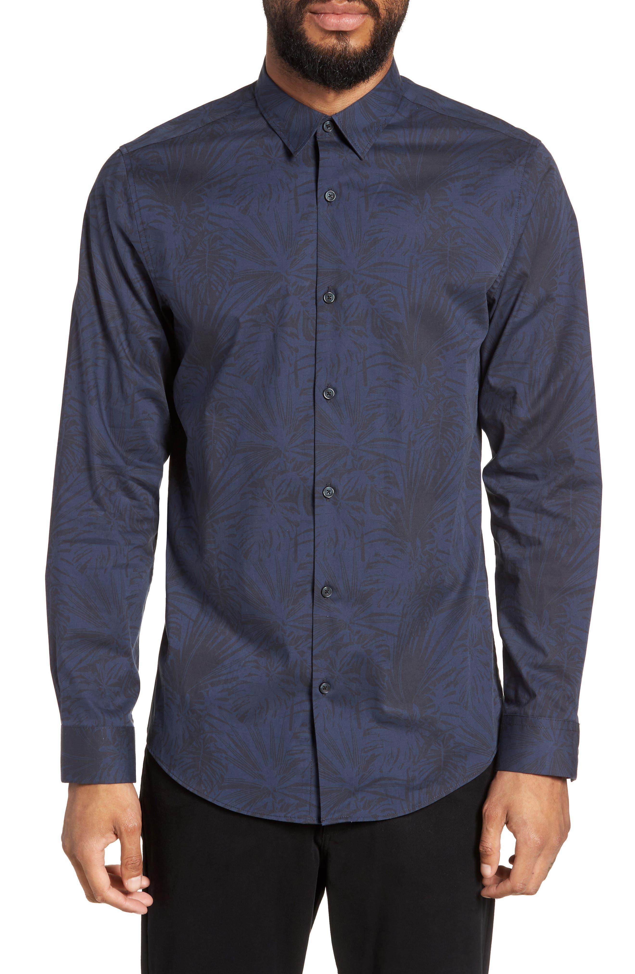 Trim Fit Stretch Print Sport Shirt,                         Main,                         color, Black Navy Palm