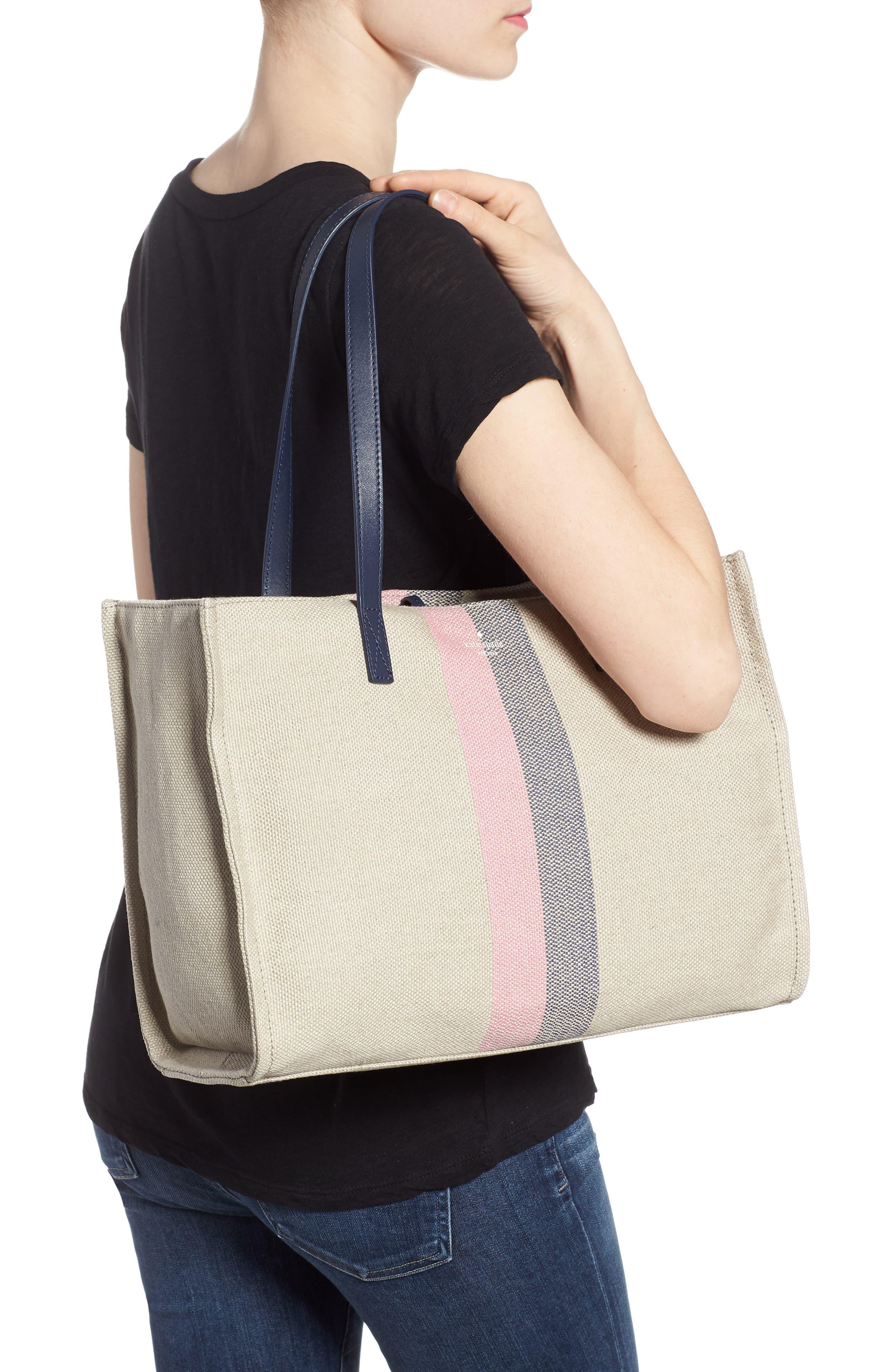 washington square - mega sam canvas satchel,                             Alternate thumbnail 2, color,                             Natural Linen/Bubble Gum/Navy