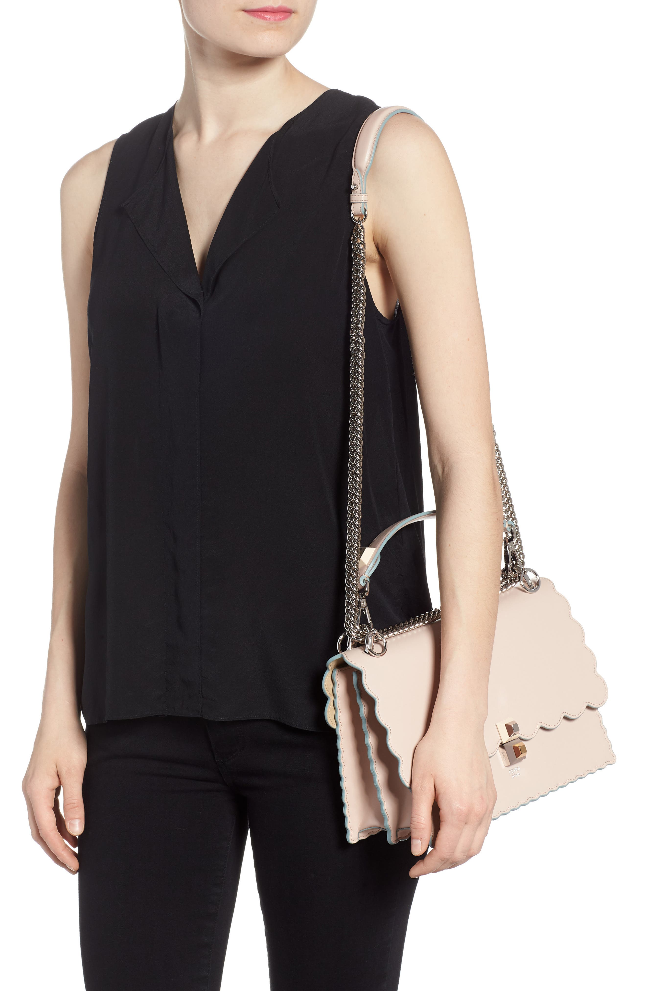 Kan I Scallop Leather Shoulder Bag,                             Alternate thumbnail 2, color,                             Soap/ Palladio